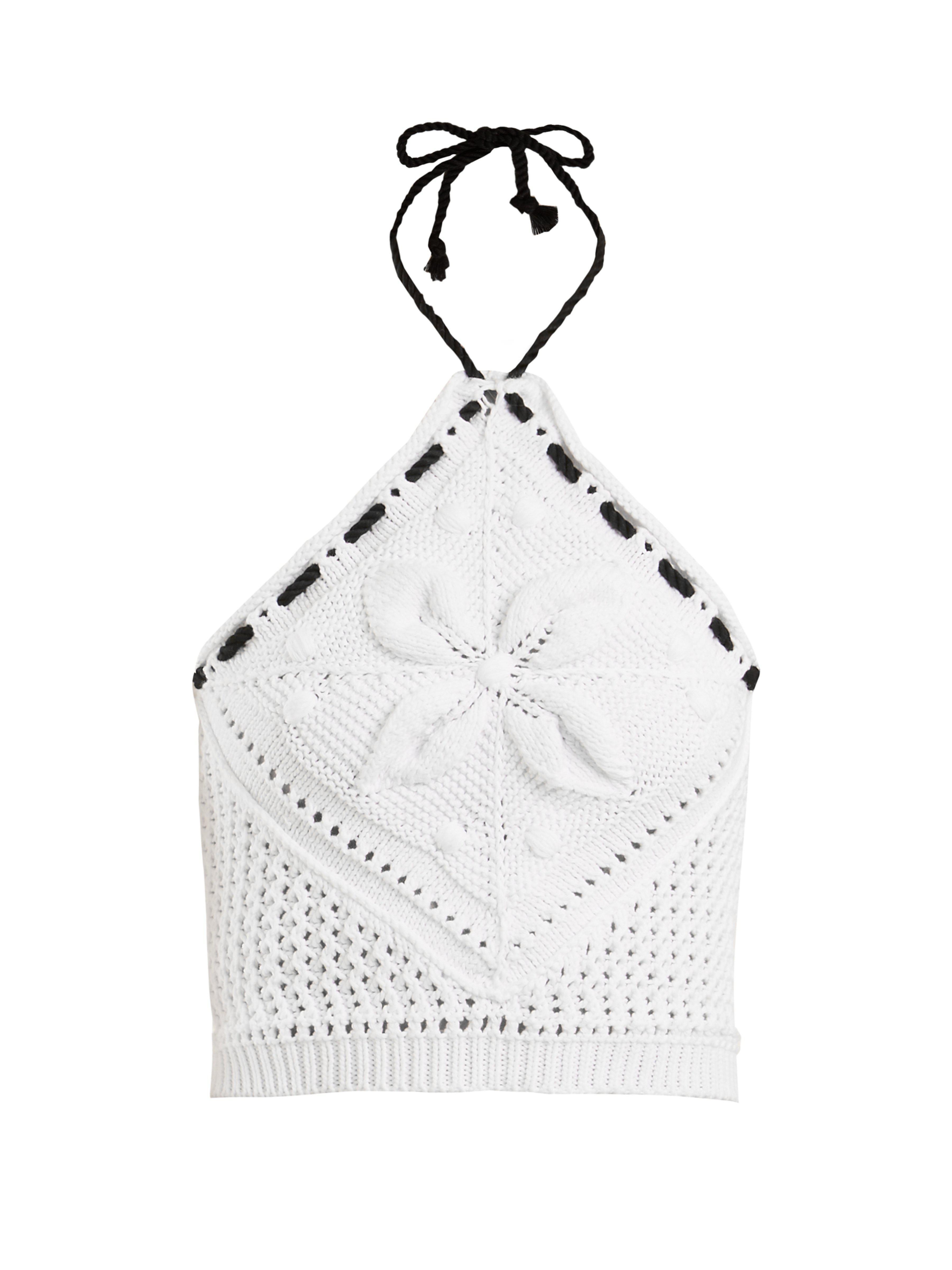 b53485128 Haut dos-nu raccourci en maille de coton au crochet RED Valentino en  coloris White