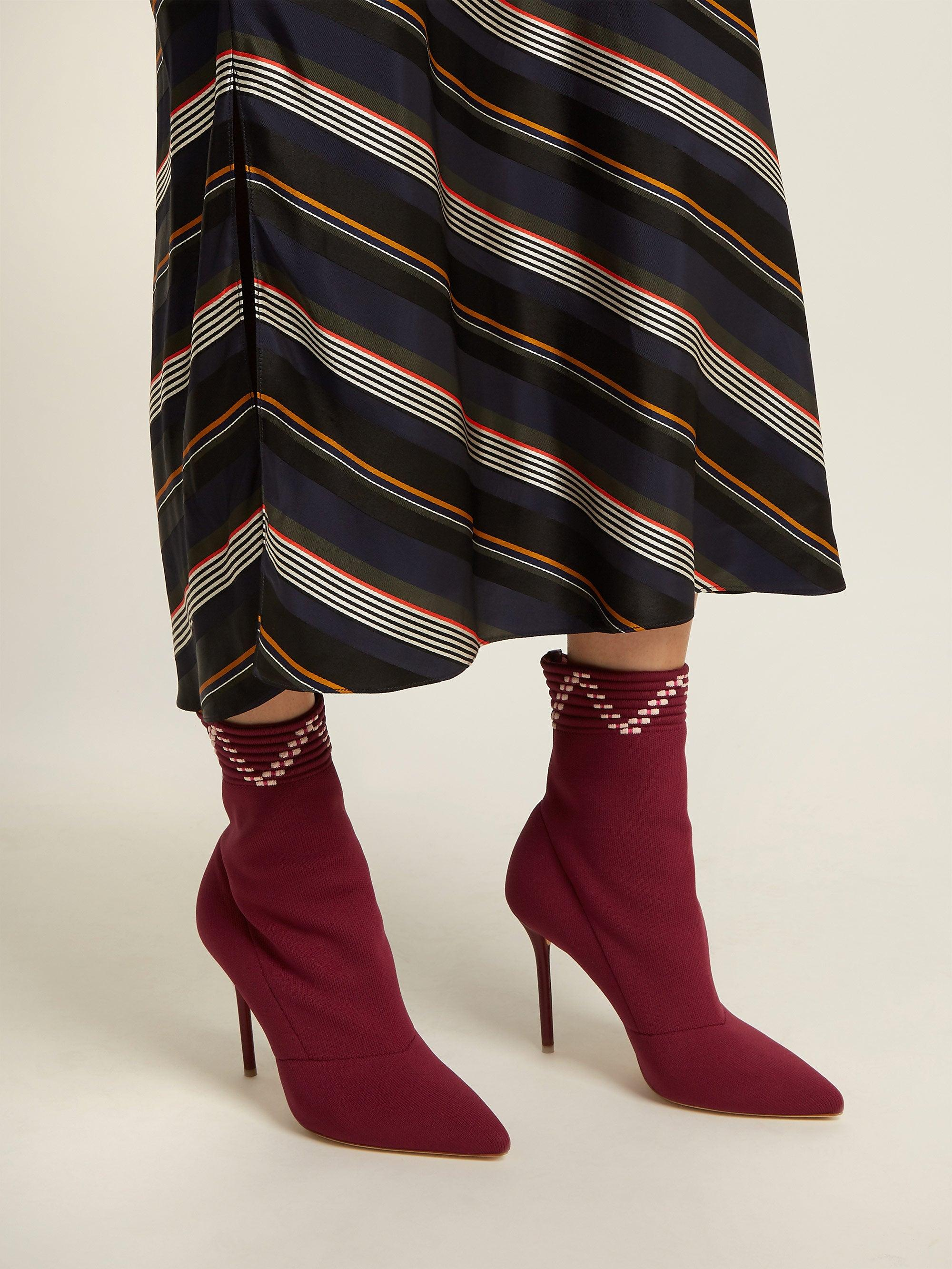 Malone Souliers Leather Mariah Sock Ankle Boots