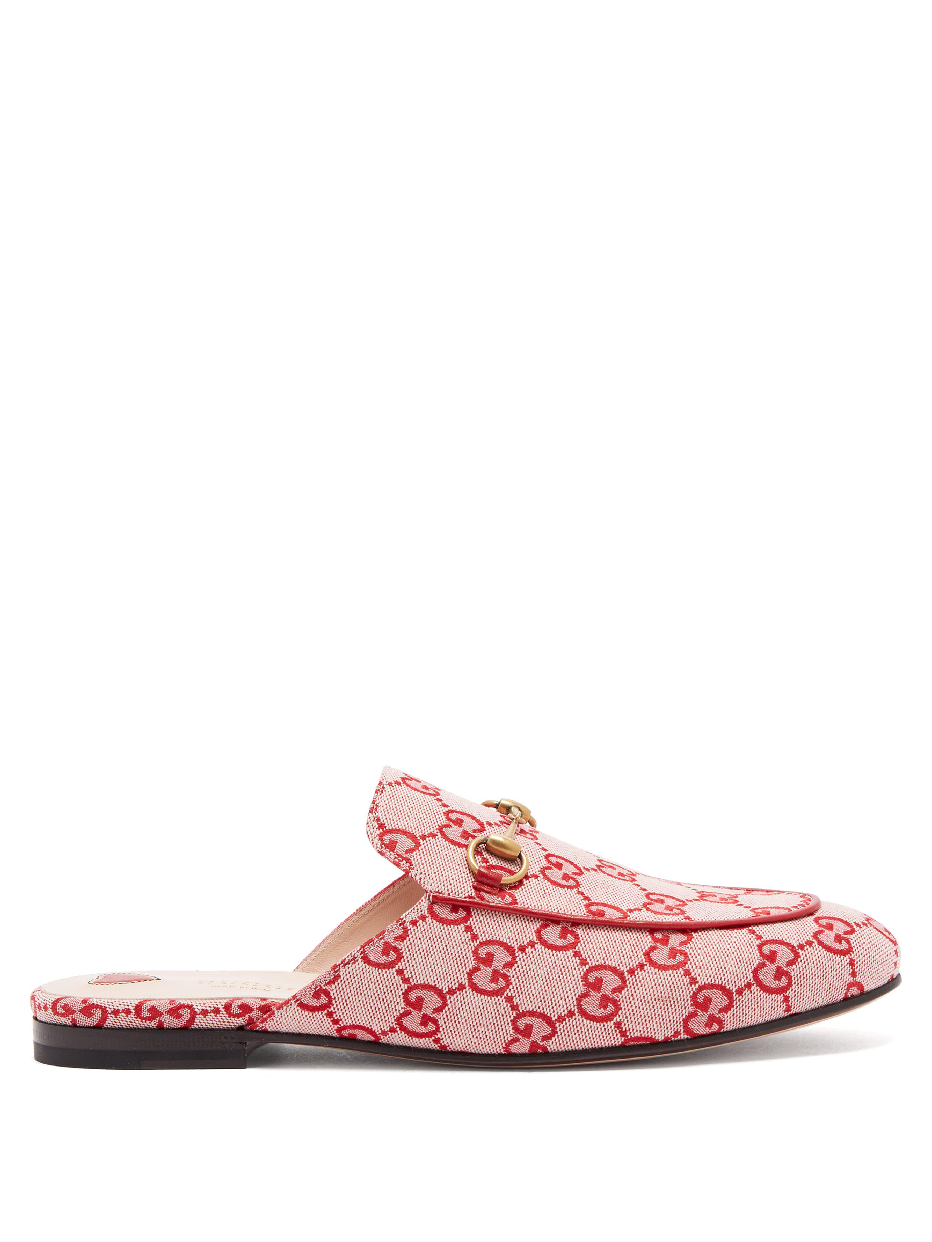 cdd7634035b Gucci Princetown Logo Jacquard Backless Loafers in Red - Lyst