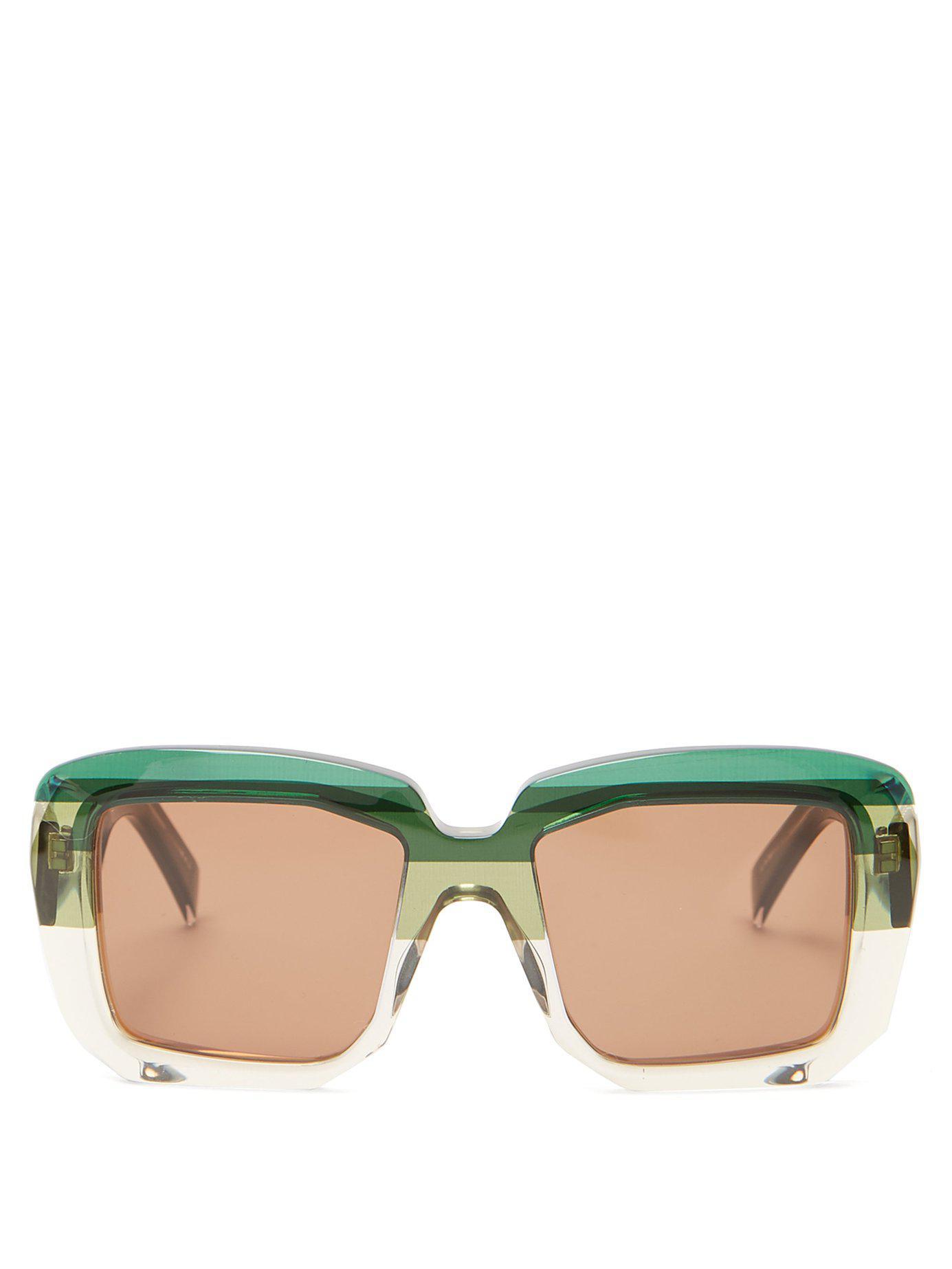 98e9deaa331 Lyst - Marni Rothko Square Acetate Sunglasses in Green