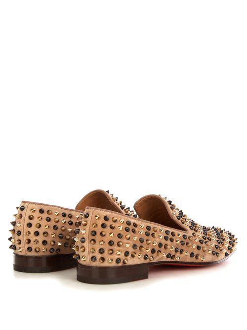Christian Louboutin Suede Popcorn Spike-embellished Slip-on Shoes in Natural for Men