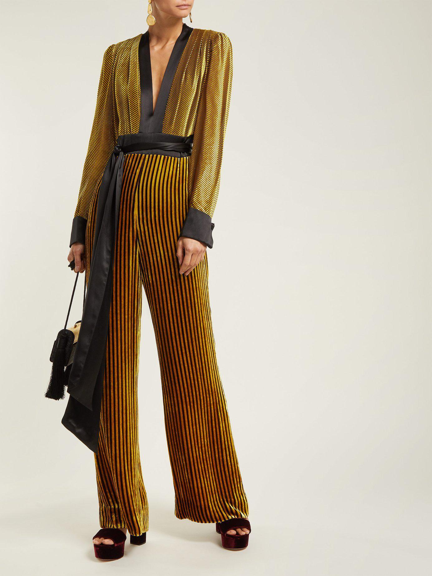 Diane Von Furstenberg Satin Trimmed Striped Velvet Jumpsuit In Black Gold Black Lyst