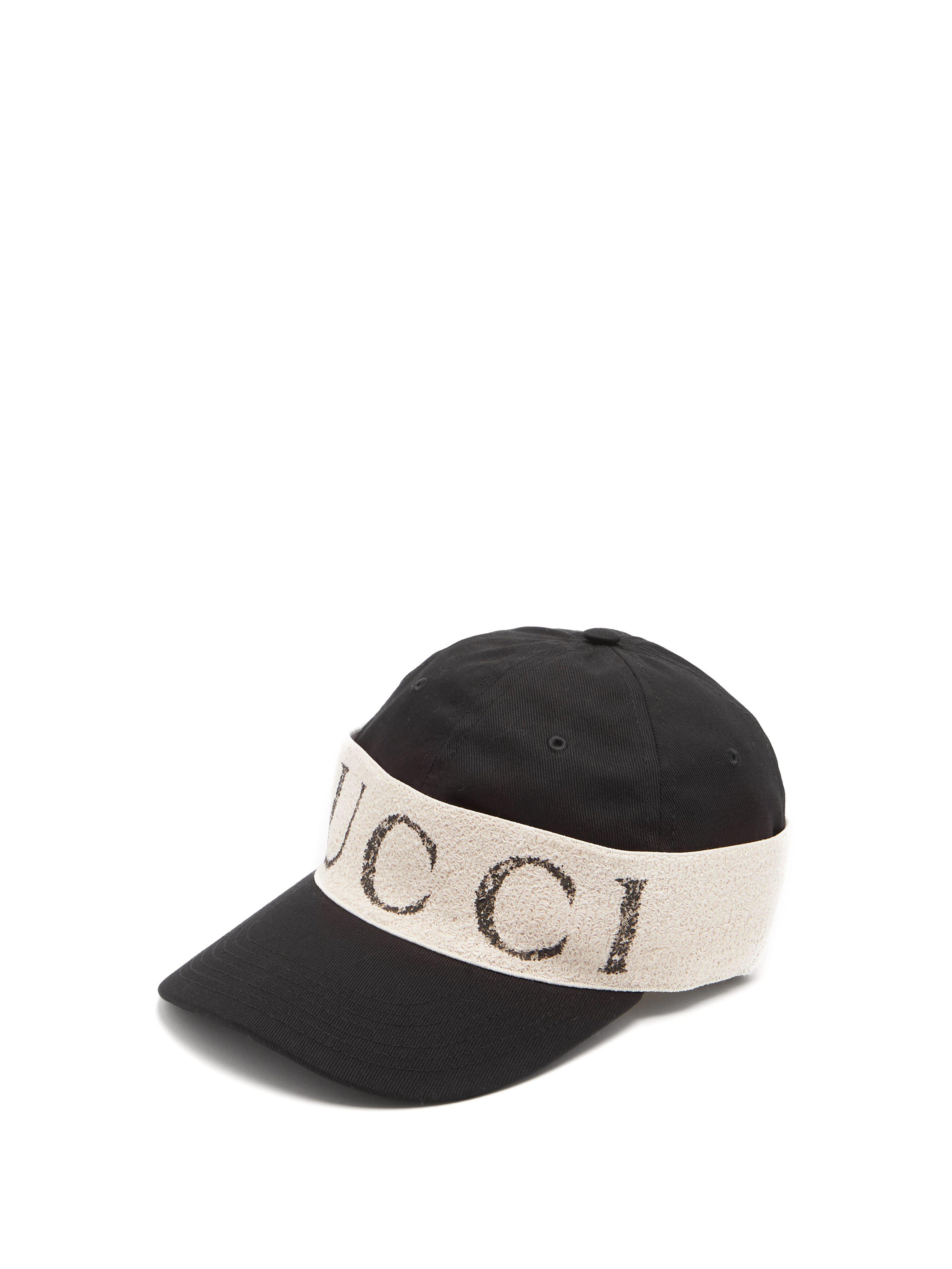 58498800a6b Gucci Logo Print Cotton Cap in Black for Men - Lyst