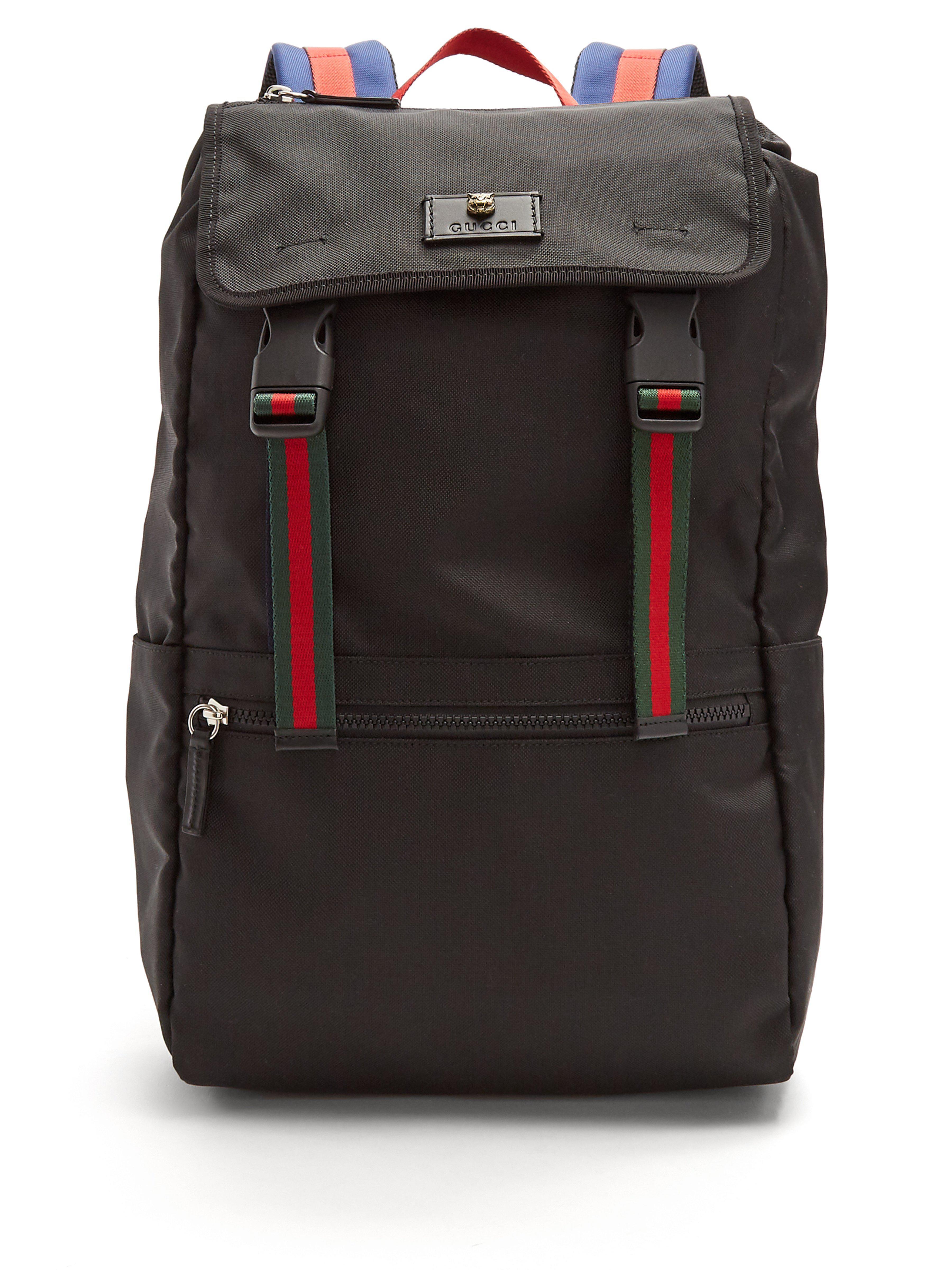 473e33719b99 Gucci Web-stripe Backpack in Black for Men - Lyst