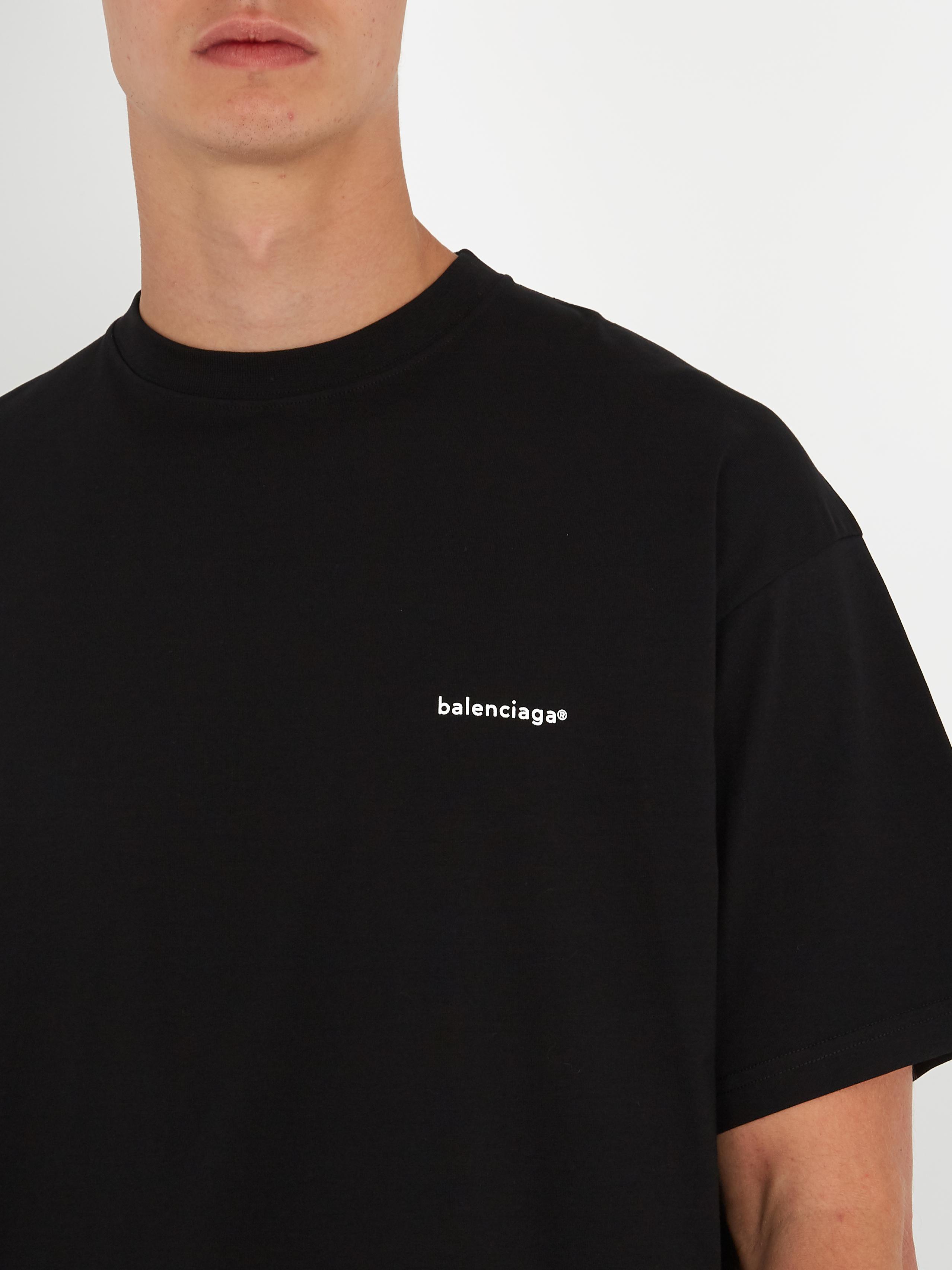 Lyst Balenciaga Oversized Logo Print Cotton T Shirt In Black For Men