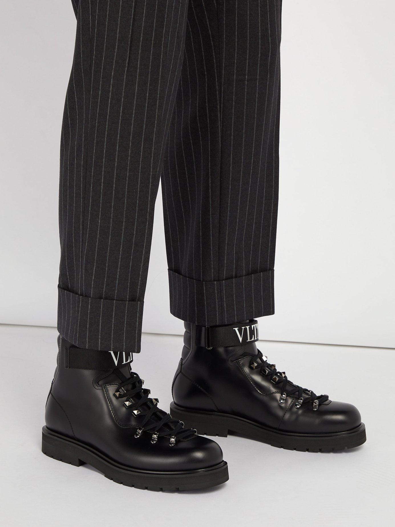 45883b3bb45 Valentino Black Vltn Lace-up Leather Boots for men