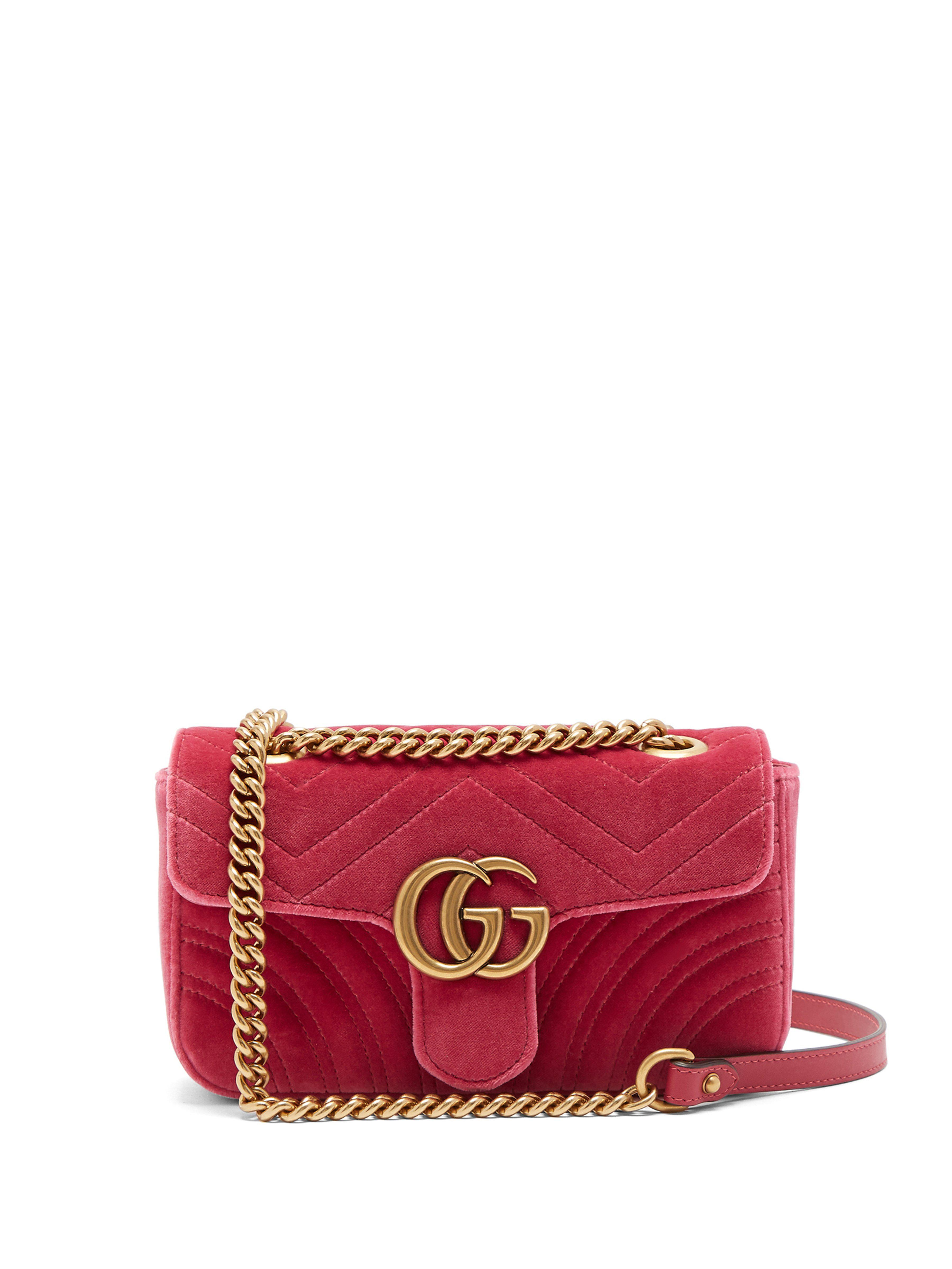 075fd7e98c9a Gucci Gg Marmont Mini Quilted Velvet Cross Body Bag in Pink - Save ...