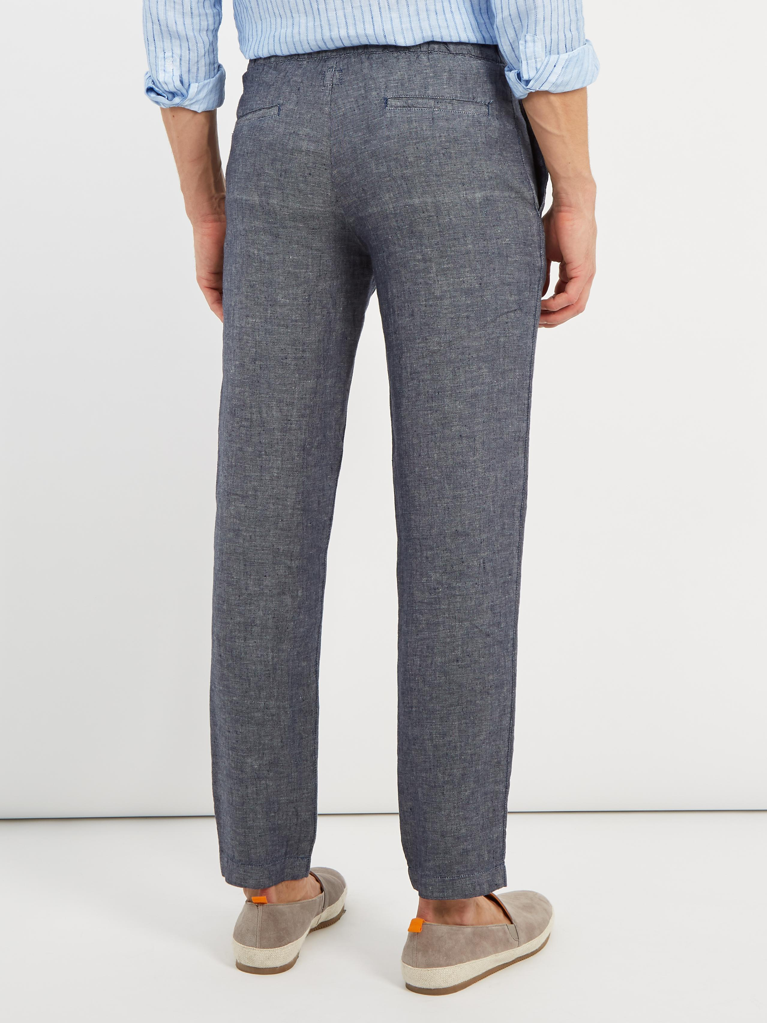 120% Lino Straight-leg Linen Trousers in Grey (Grey) for Men