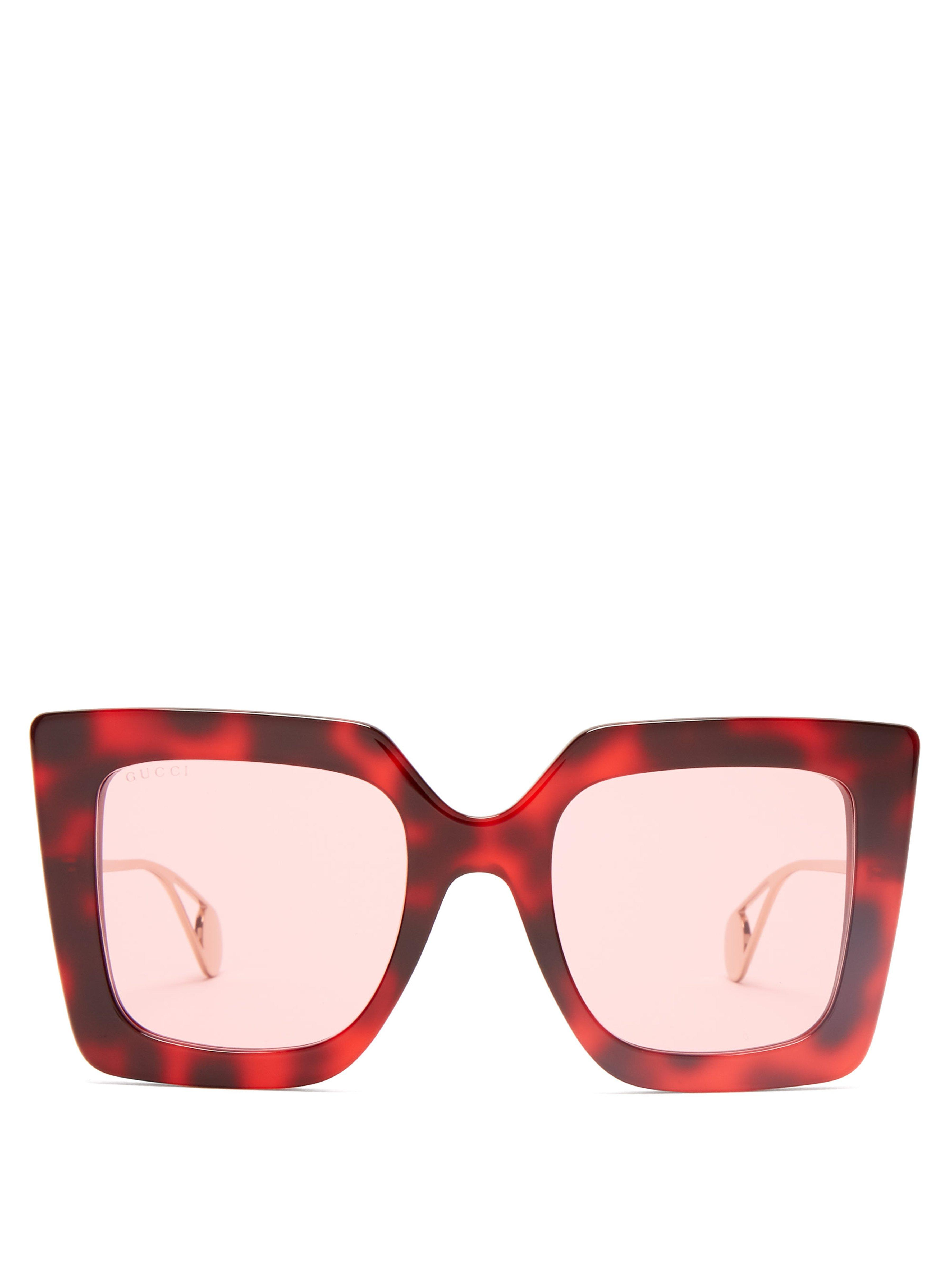 21af7914a7 Gucci Oversized Square Frame Acetate Sunglasses in Red - Lyst