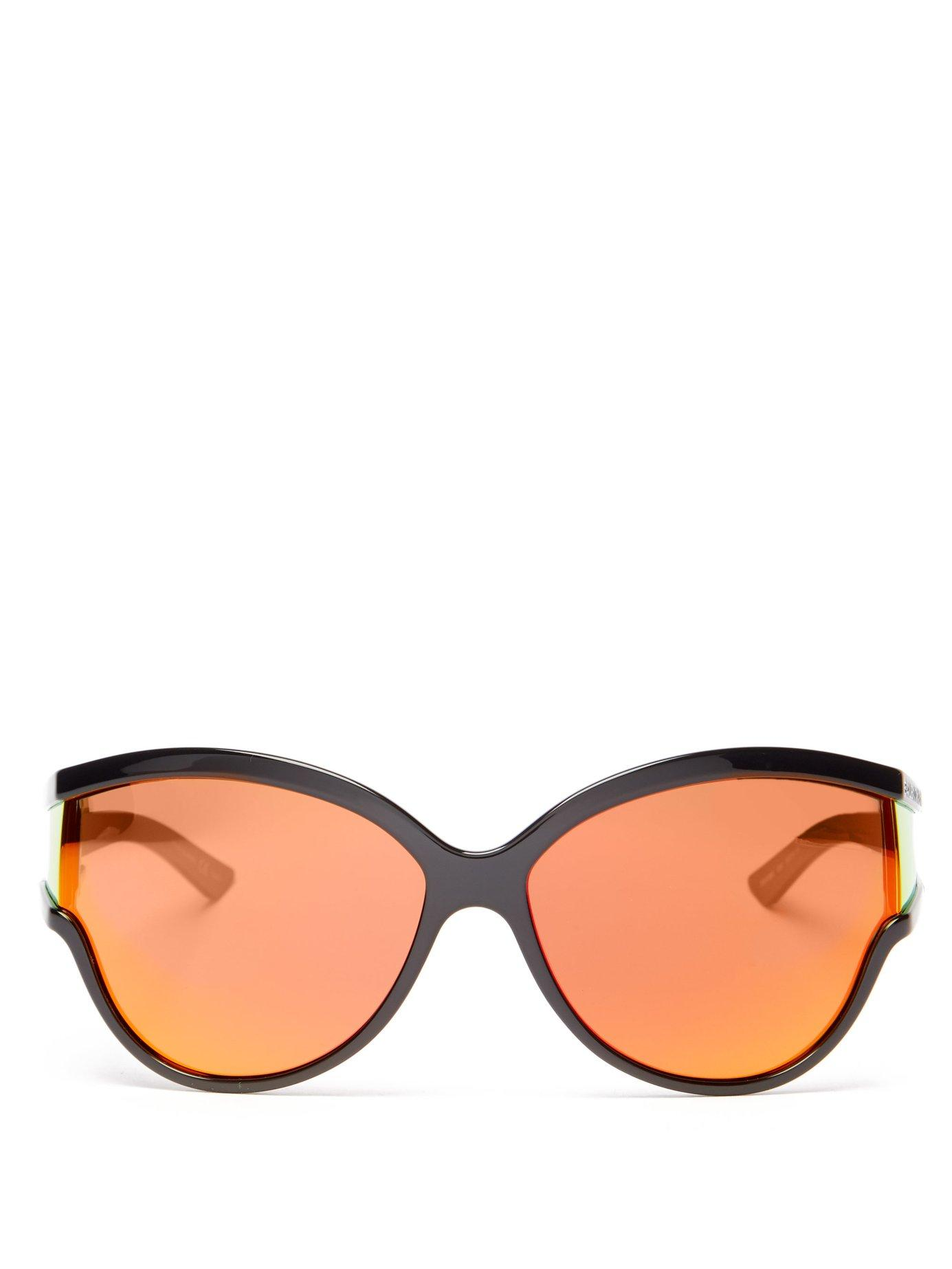 f75354a67f Balenciaga Ski Reflective Cat Eye Sunglasses in Orange - Lyst