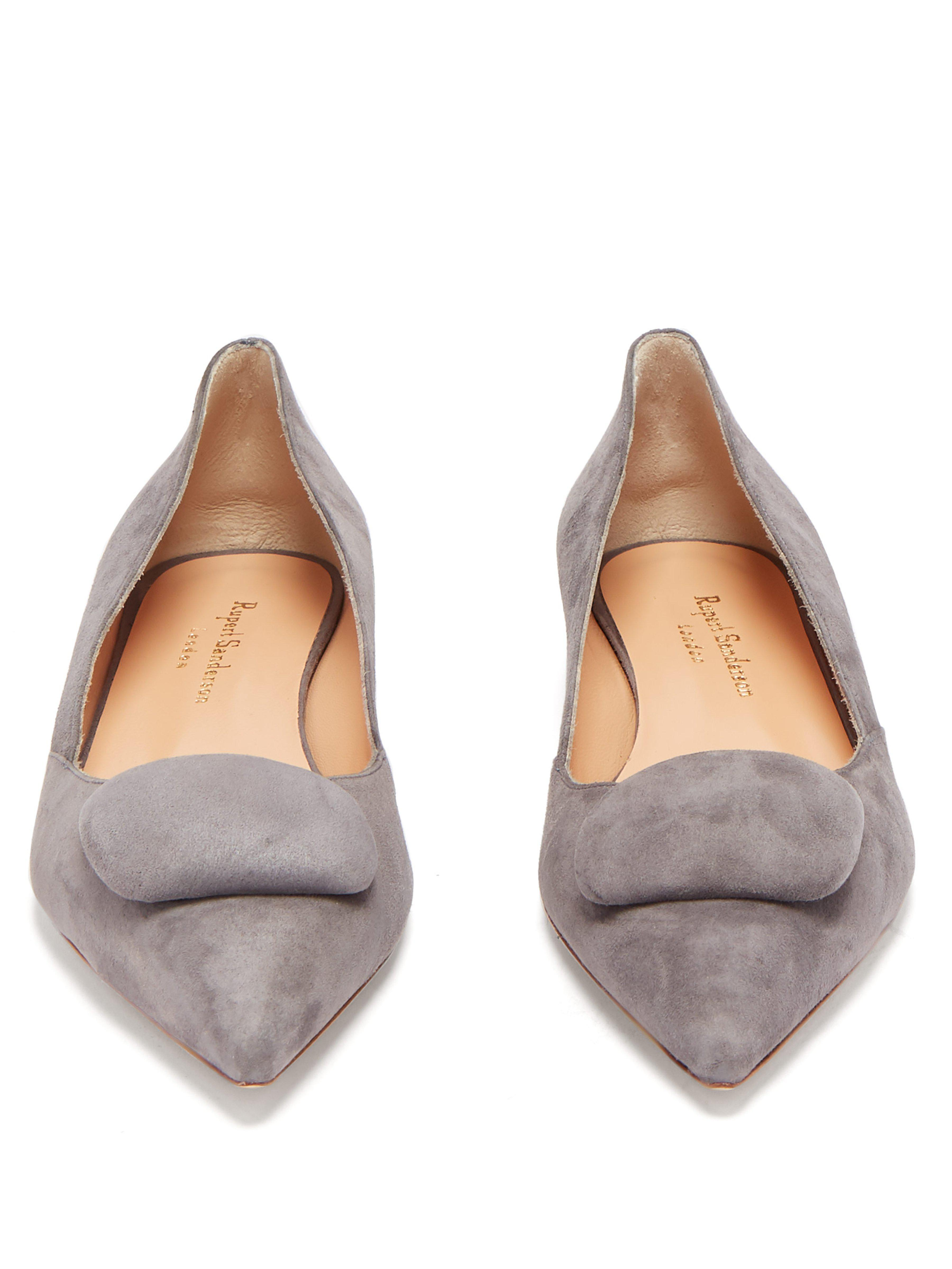 Chaussures plates pointues en daim Aga Rupert Sanderson en coloris Gray