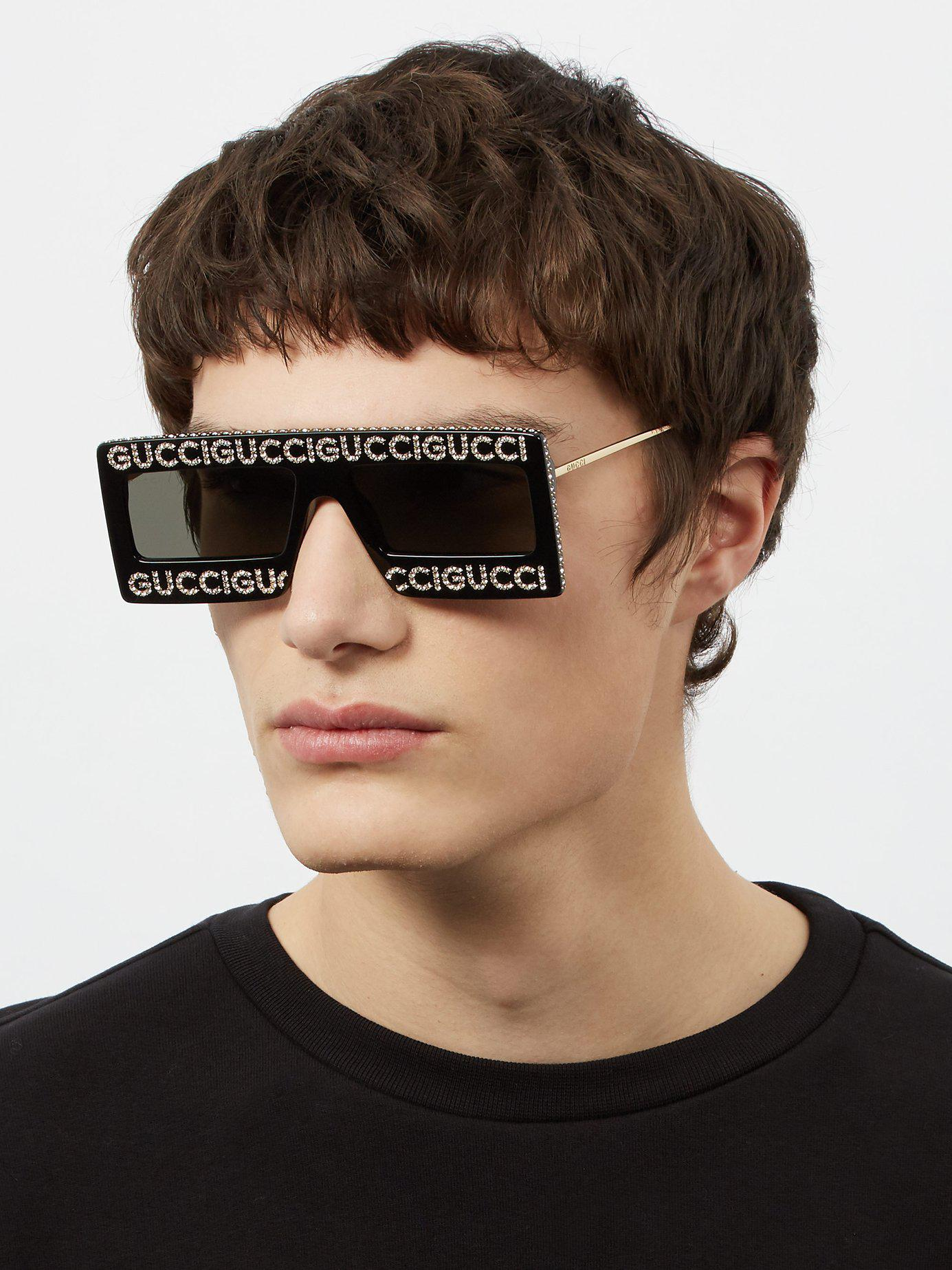 7432bb57c82 Gucci - Black Hollywood Forever Embellished Sunglasses for Men - Lyst. View  fullscreen
