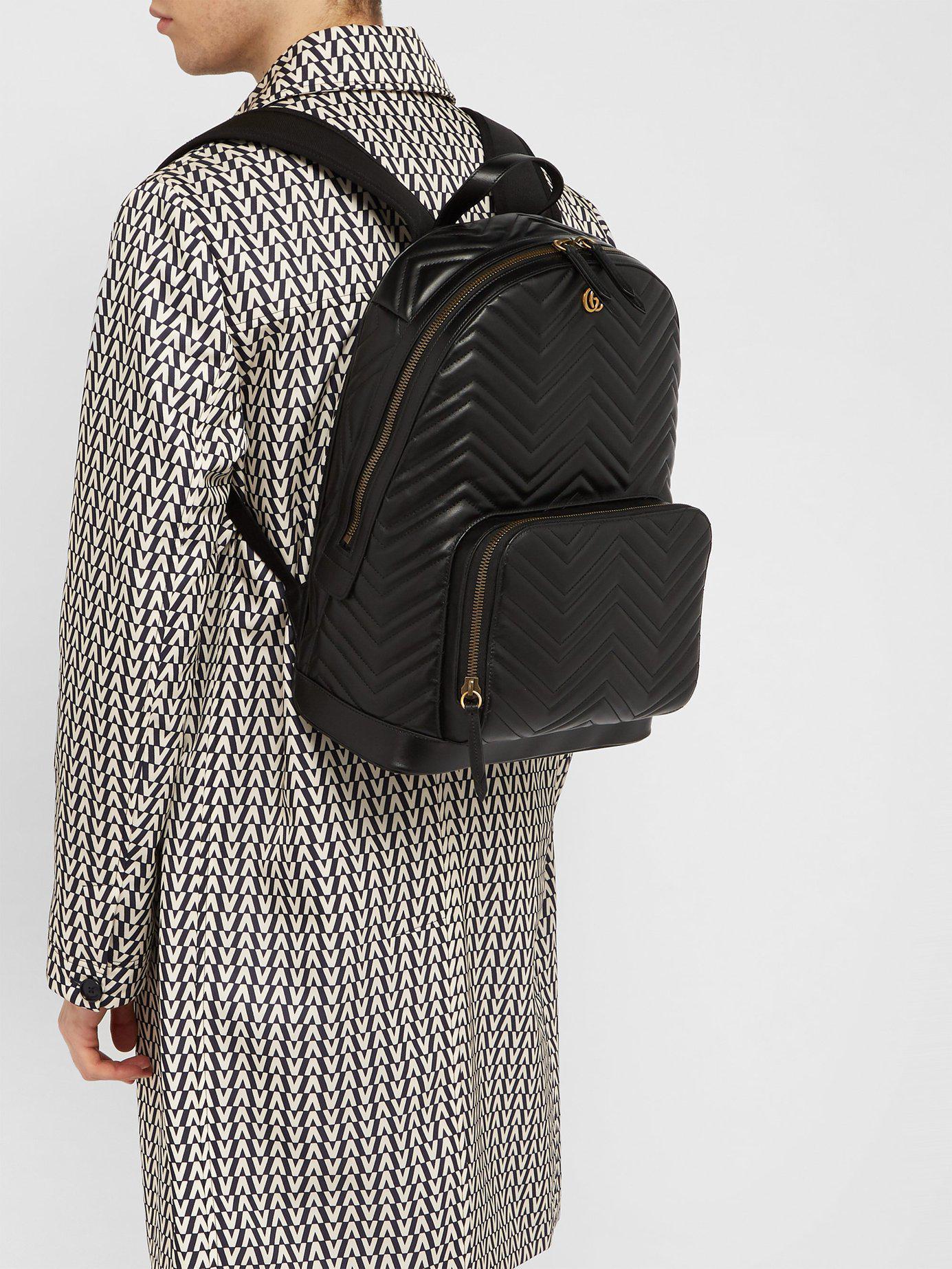 Lyst - Gucci Marmont Leather Backpack in Black for Men 007af9ee8ac43