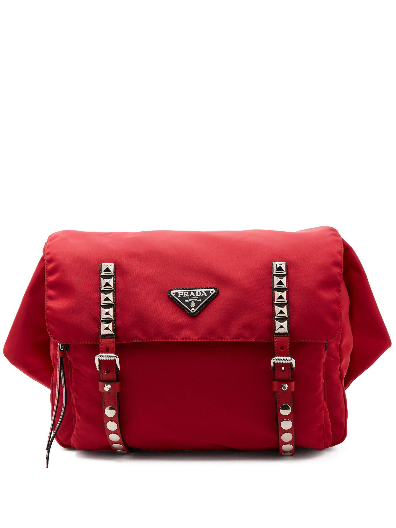 fc734847931aa6 Prada New Vela Leather Trimmed Belt Bag in Red - Lyst