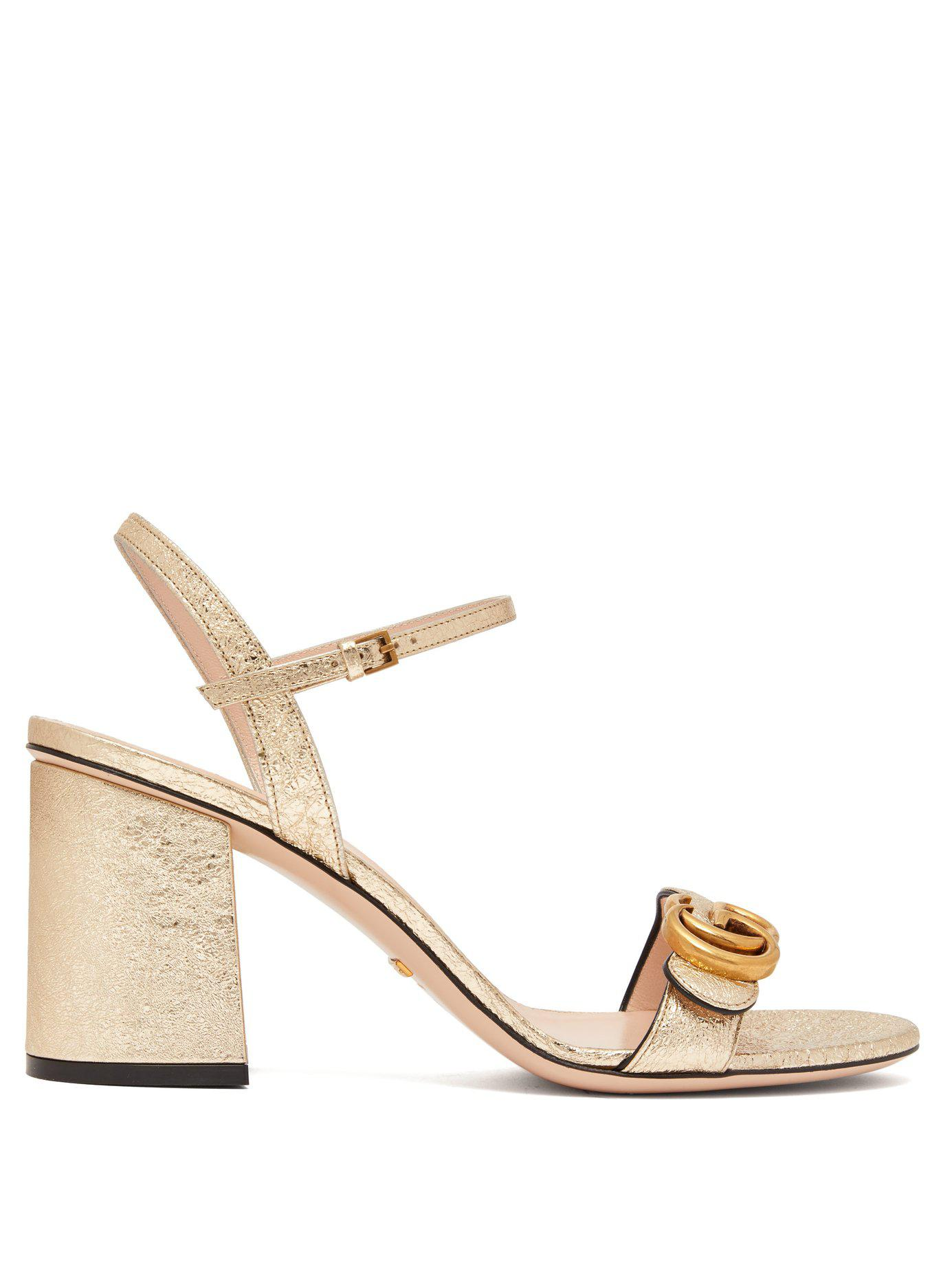a7e545b9cb6 Lyst - Gucci Gg Marmont Metallic Leather Sandals in Metallic