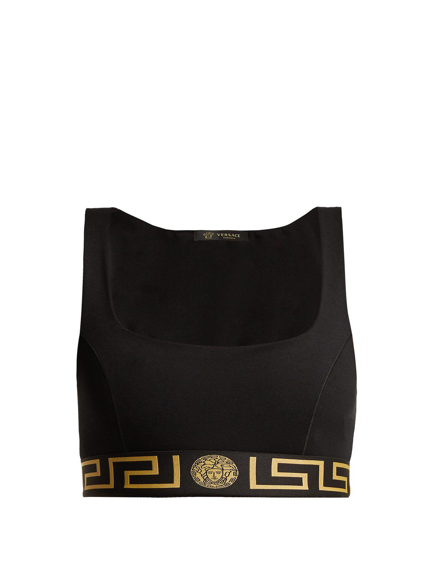 d6d30ec7f9d1fa Versace - Black Greek Key Print Sports Bra - Lyst. View fullscreen