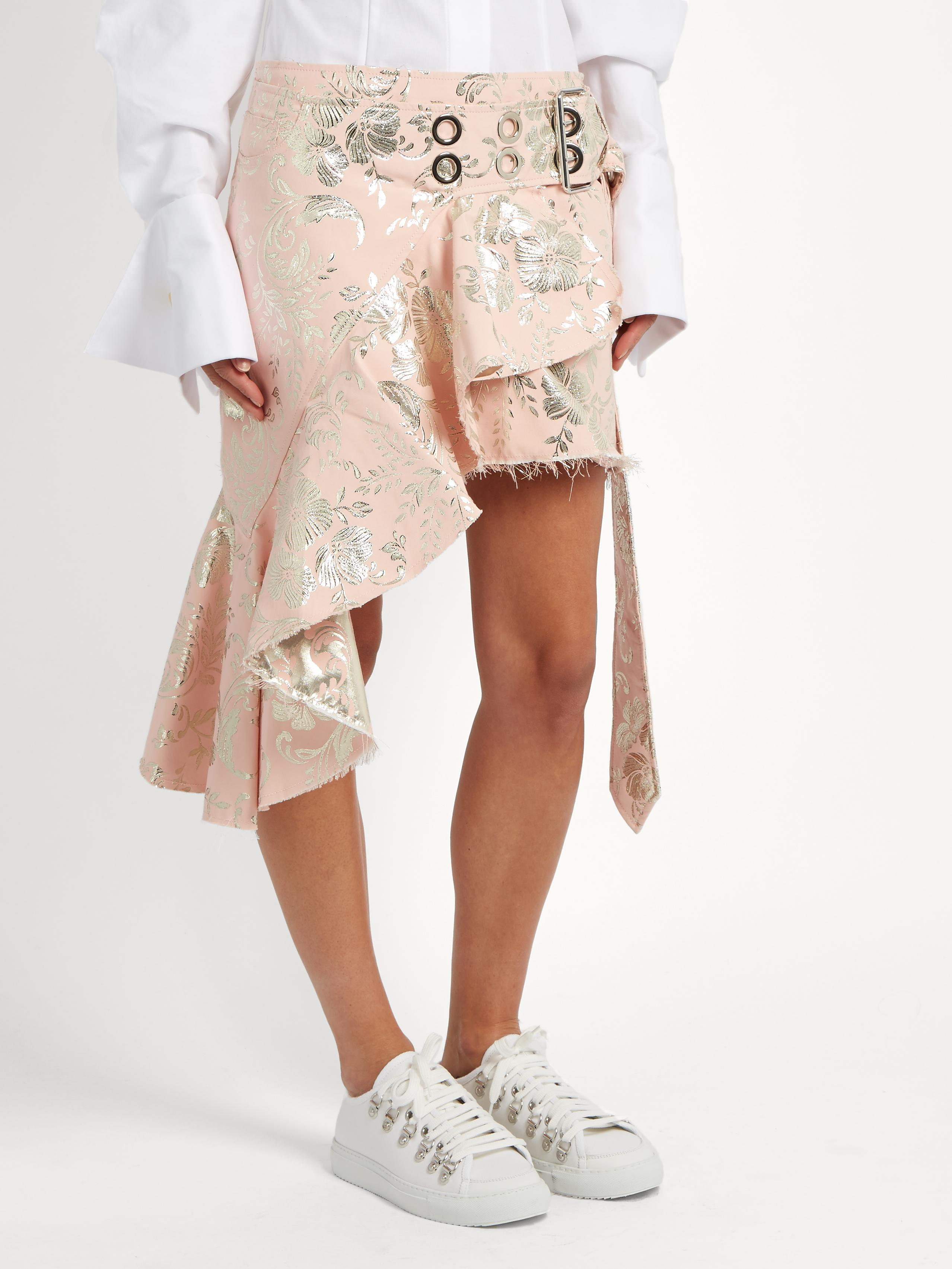 Marques'Almeida Cotton Short Wrap Brocade Skirt in Pink & Silver (Pink)