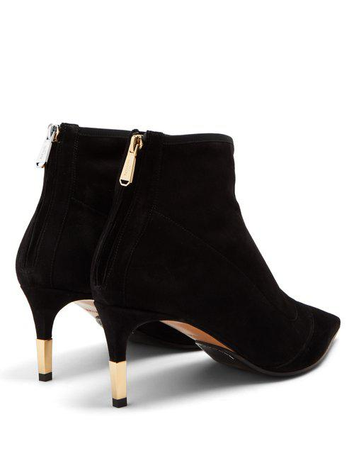 Balmain Point-toe Suede Ankle Boots in Black