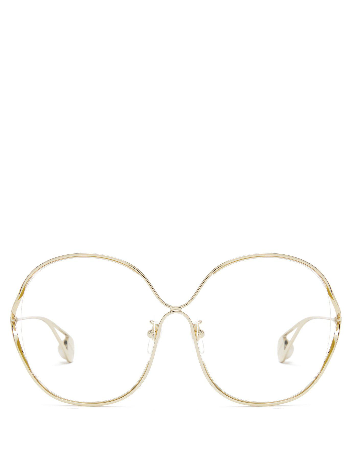 be7fb83b86b42 Gucci. Women s Round Frame Metal And Faux Pearl Glasses