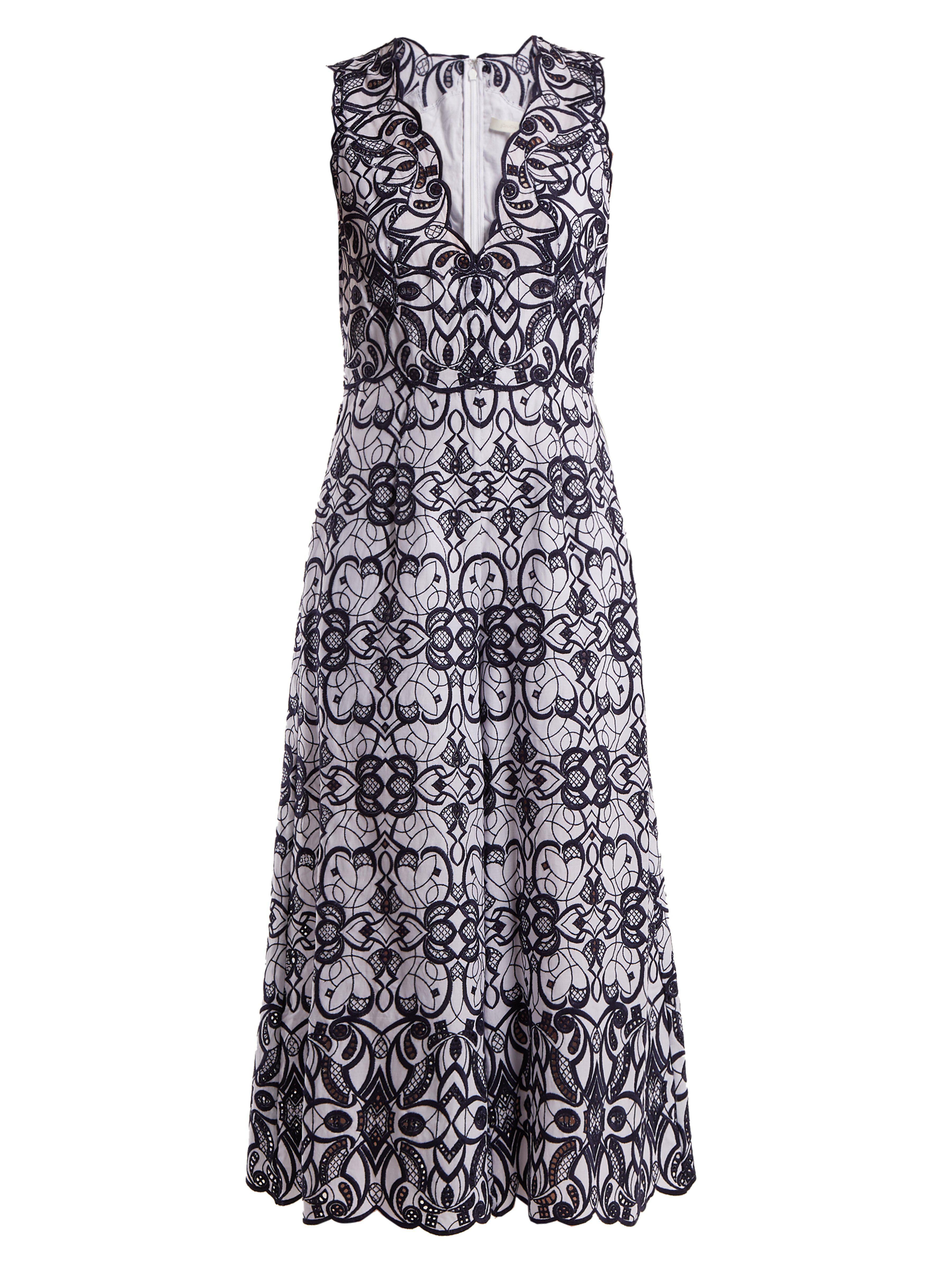 d1b2720a154c Jonathan Simkhai. Women s Blue V Neck Geometric Embroidered Cotton Jumpsuit