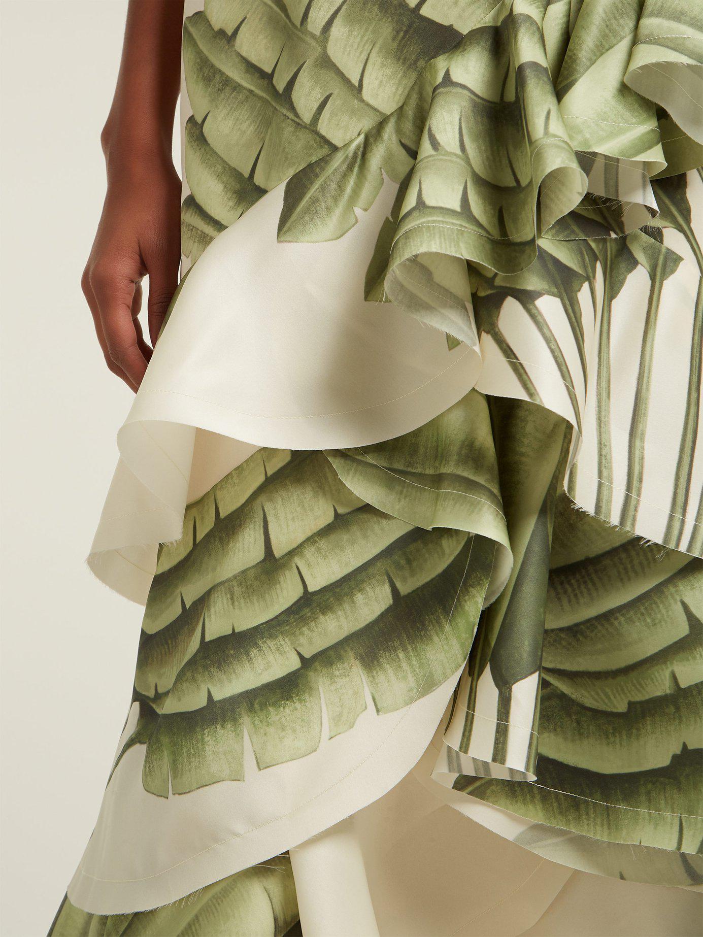 65b7dd8305f Johanna Ortiz Coconut Palm Leaf Print Silk Organza Gown in Green - Lyst