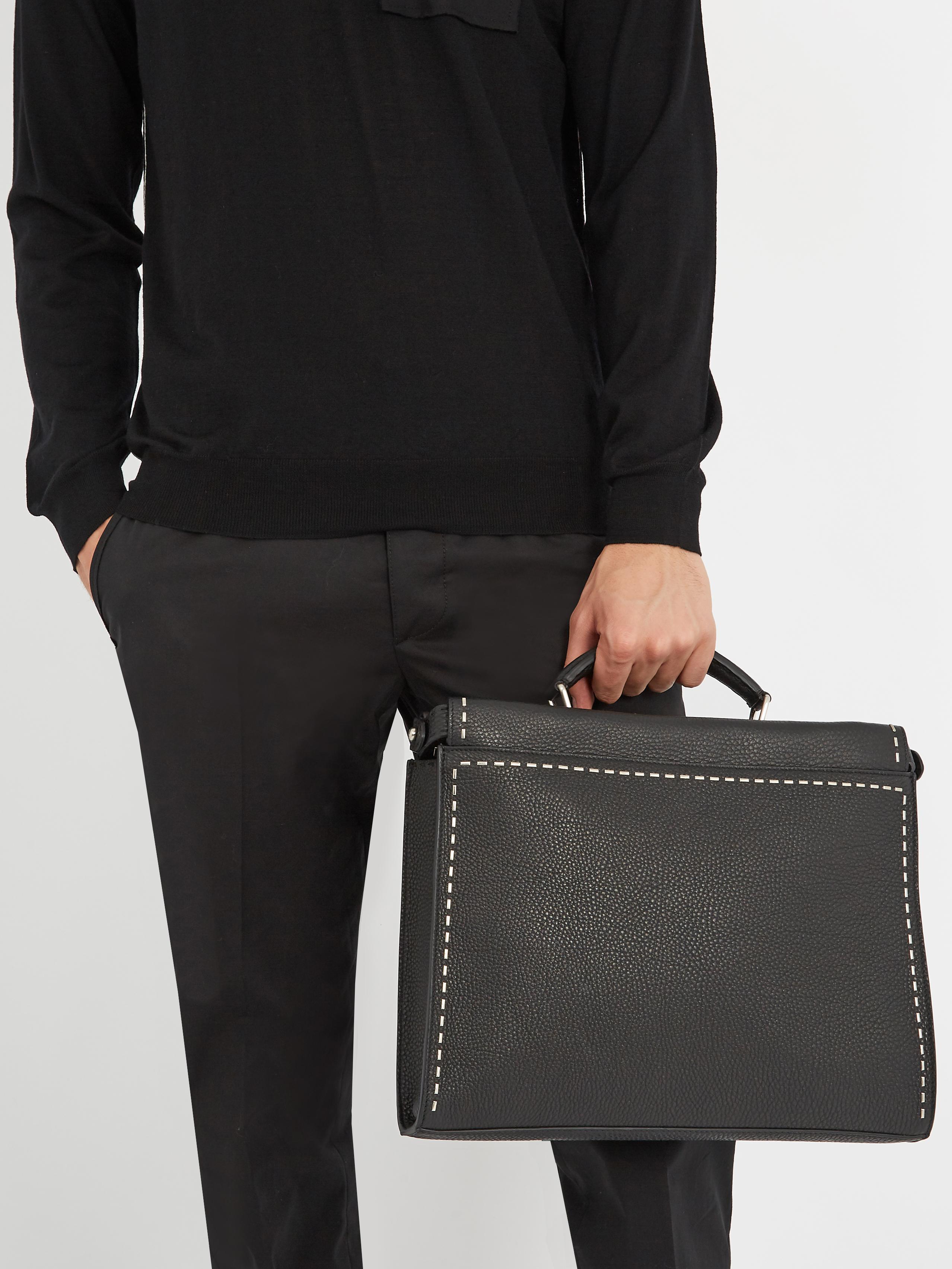 Fendi Metal Stitch Leather Briefcase in Black for Men - Lyst