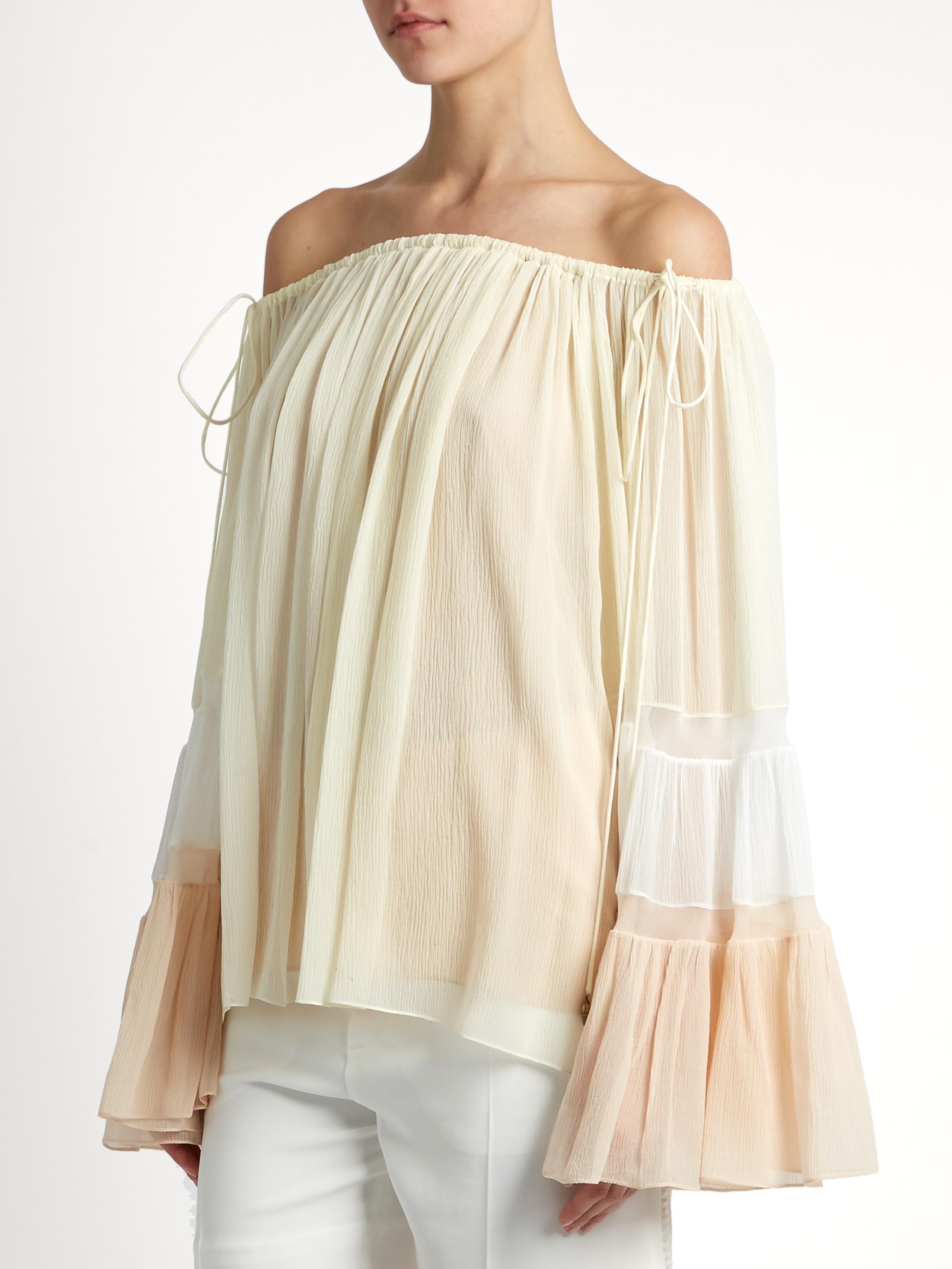 Chlo 233 Off The Shoulder Silk Crepon Blouse In White Lyst