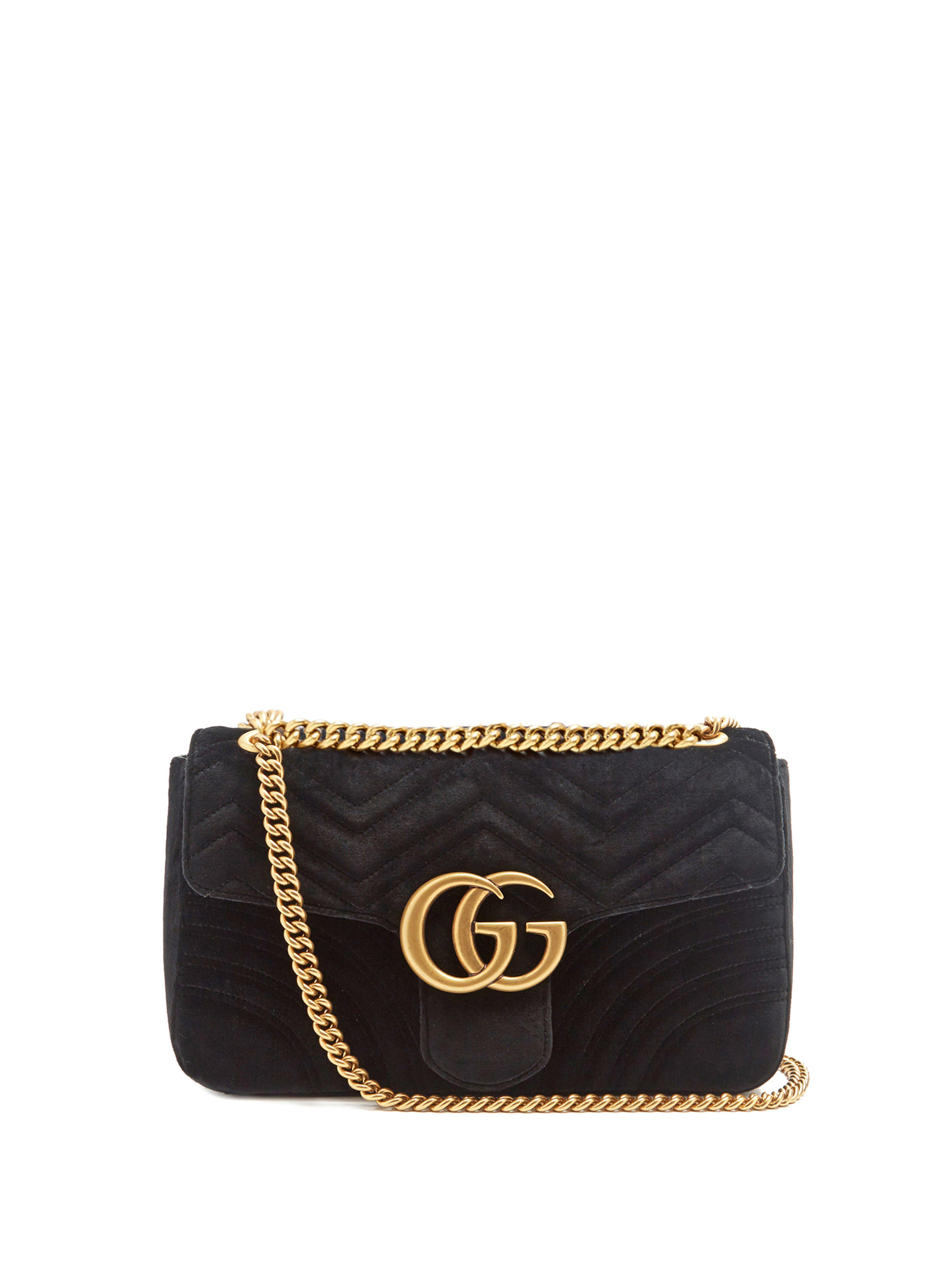 54cabe099d9 Gucci Gg Marmont Mini Velvet Quilted Shoulder Bag in Black - Lyst
