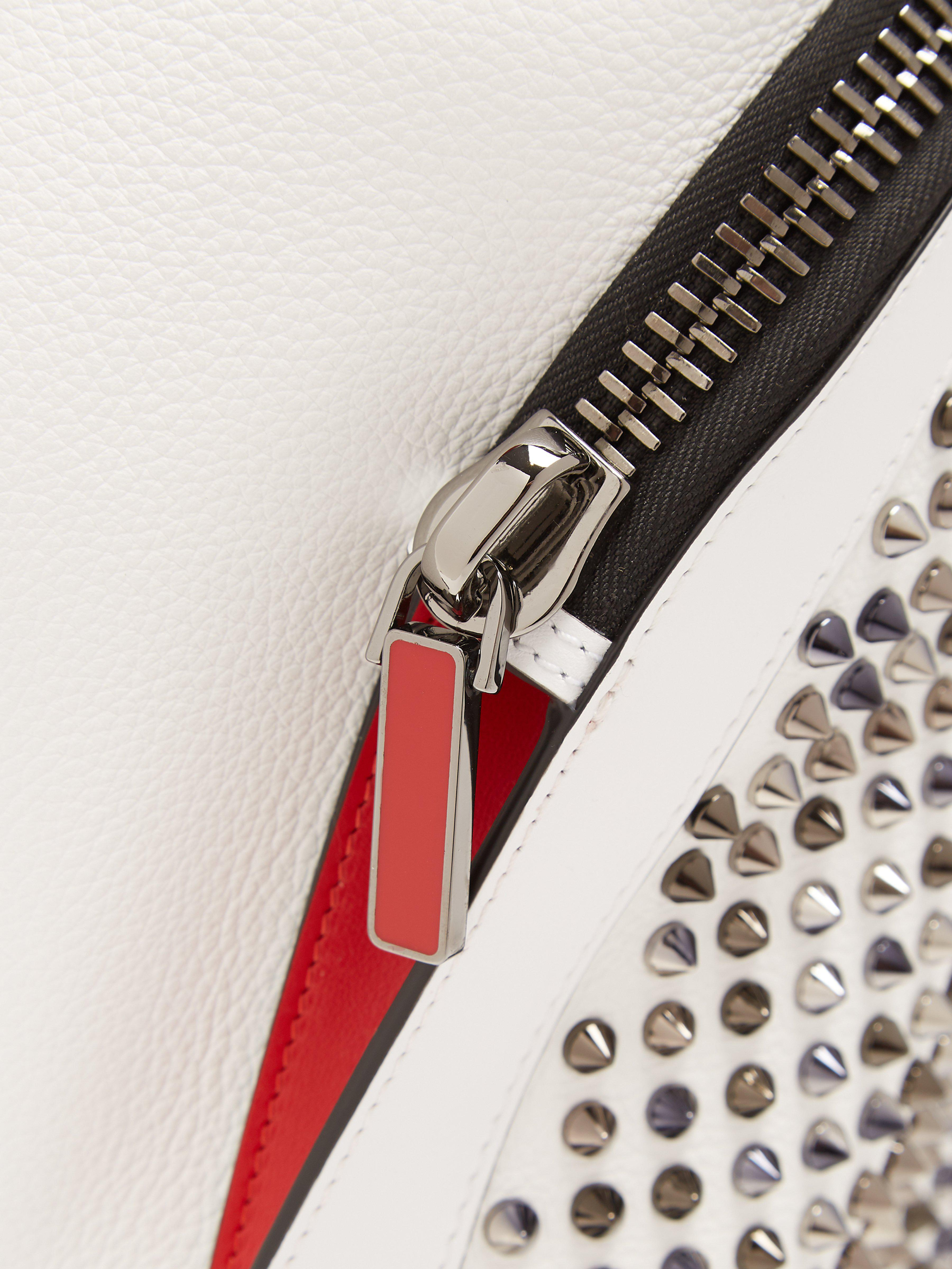 Christian Louboutin Leather Explorafunk Spike Embellished Backpack in White for Men