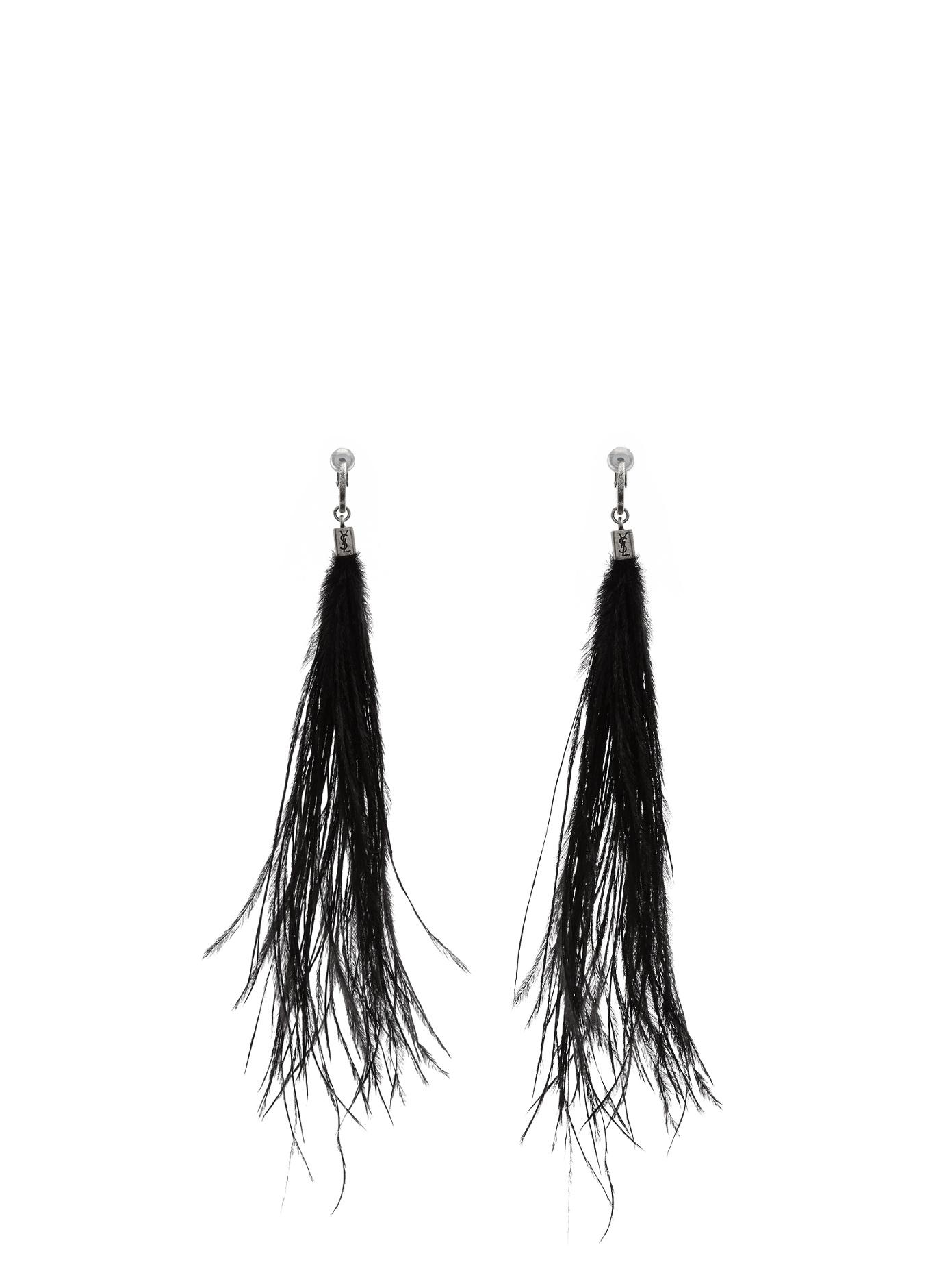 Saint Laurent Long ostrich-feathered earrings fmZBscXdS