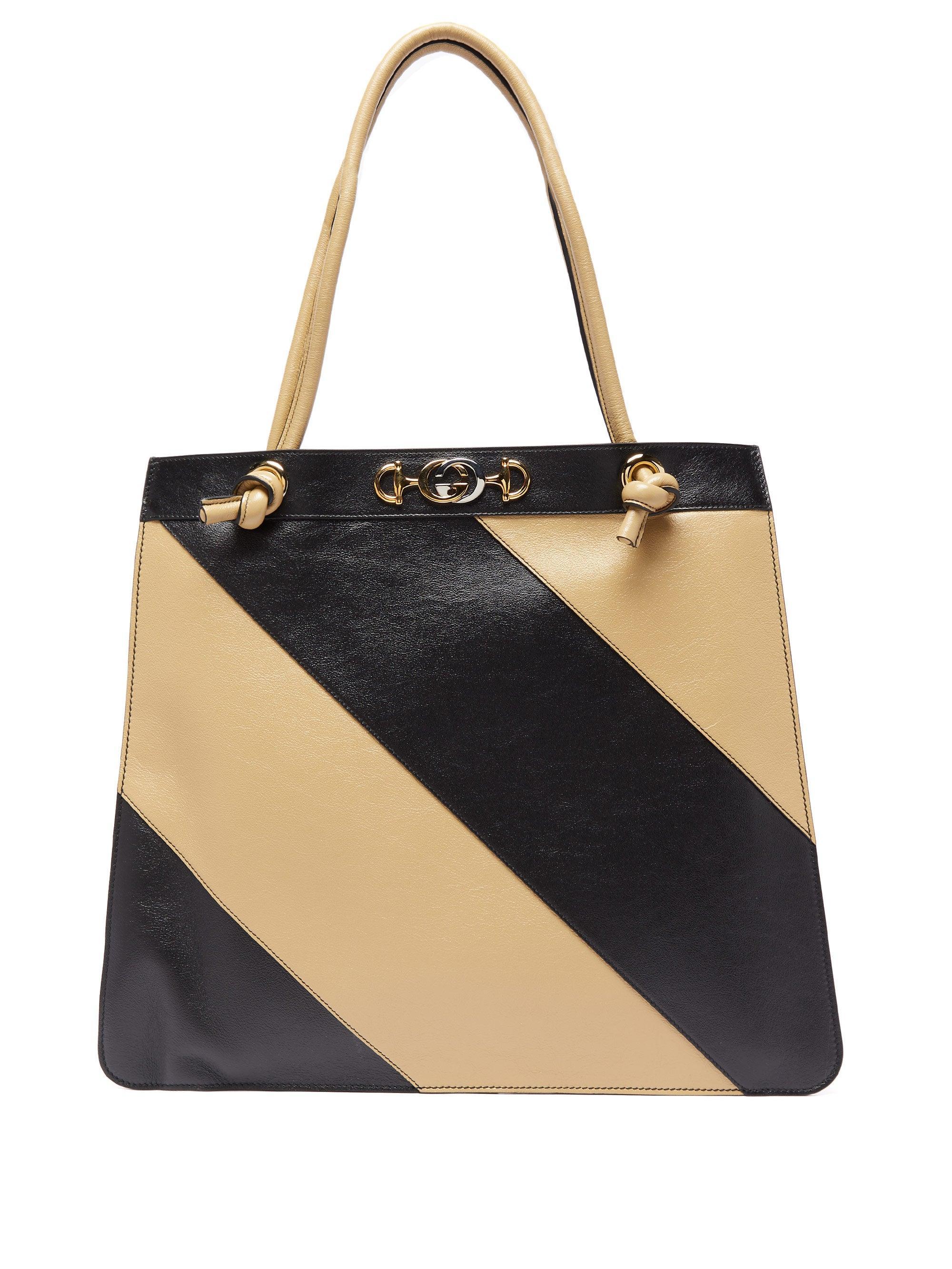 Gucci Zumi Striped Leather Tote Bag In