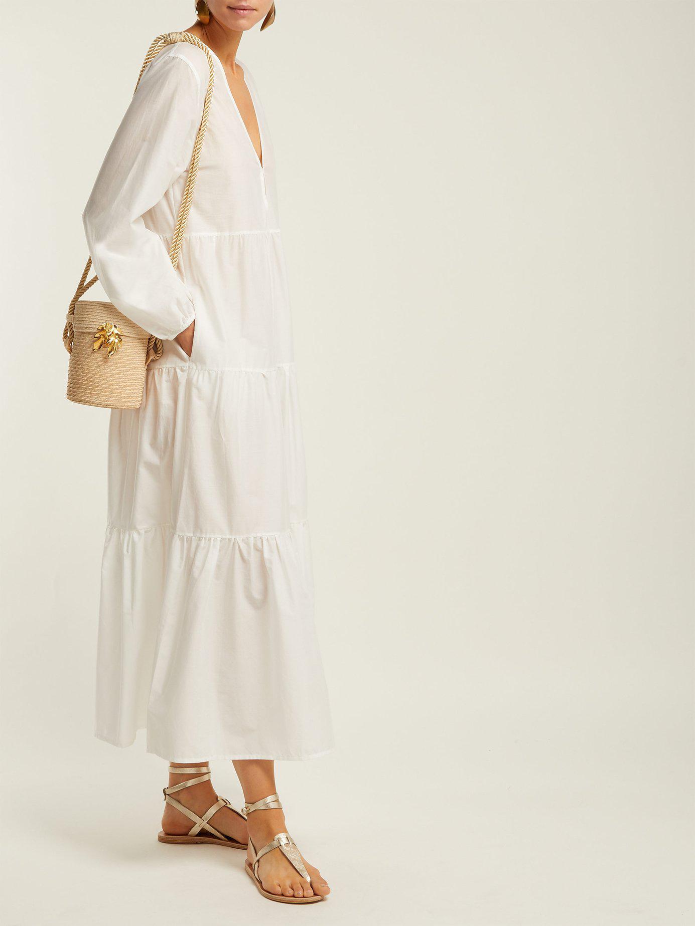 593b607a166 Matteau - White The Long Sleeve Tiered Cotton Midi Dress - Lyst. View  fullscreen