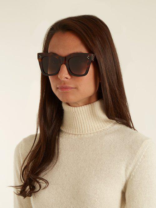 054c33651a Lyst - Céline Catherine Cat-eye Acetate Sunglasses in Brown