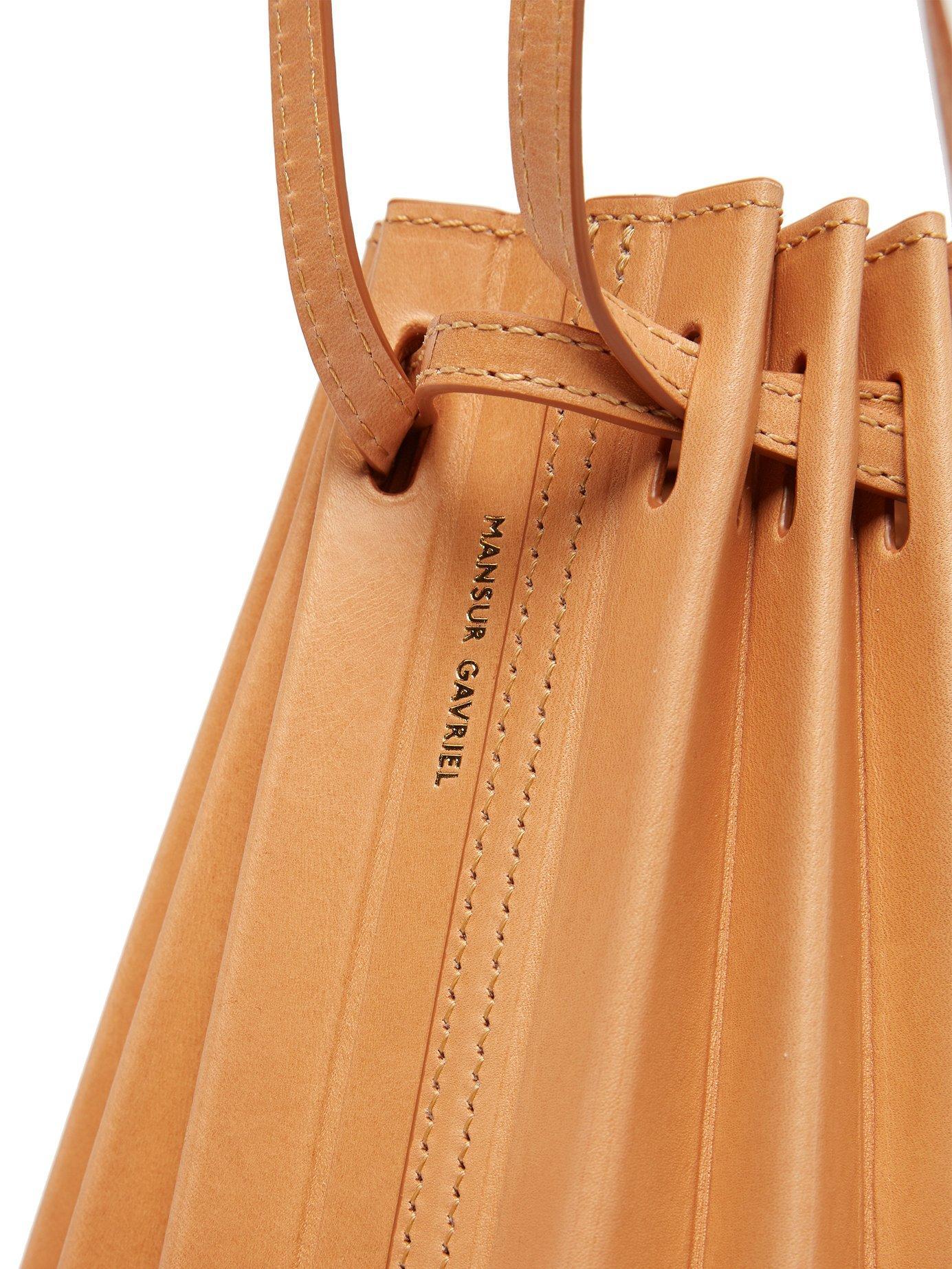 0b75d0d1f Mansur Gavriel Vegetable Tanned Pleated Italian Leather Bucket Bag ...