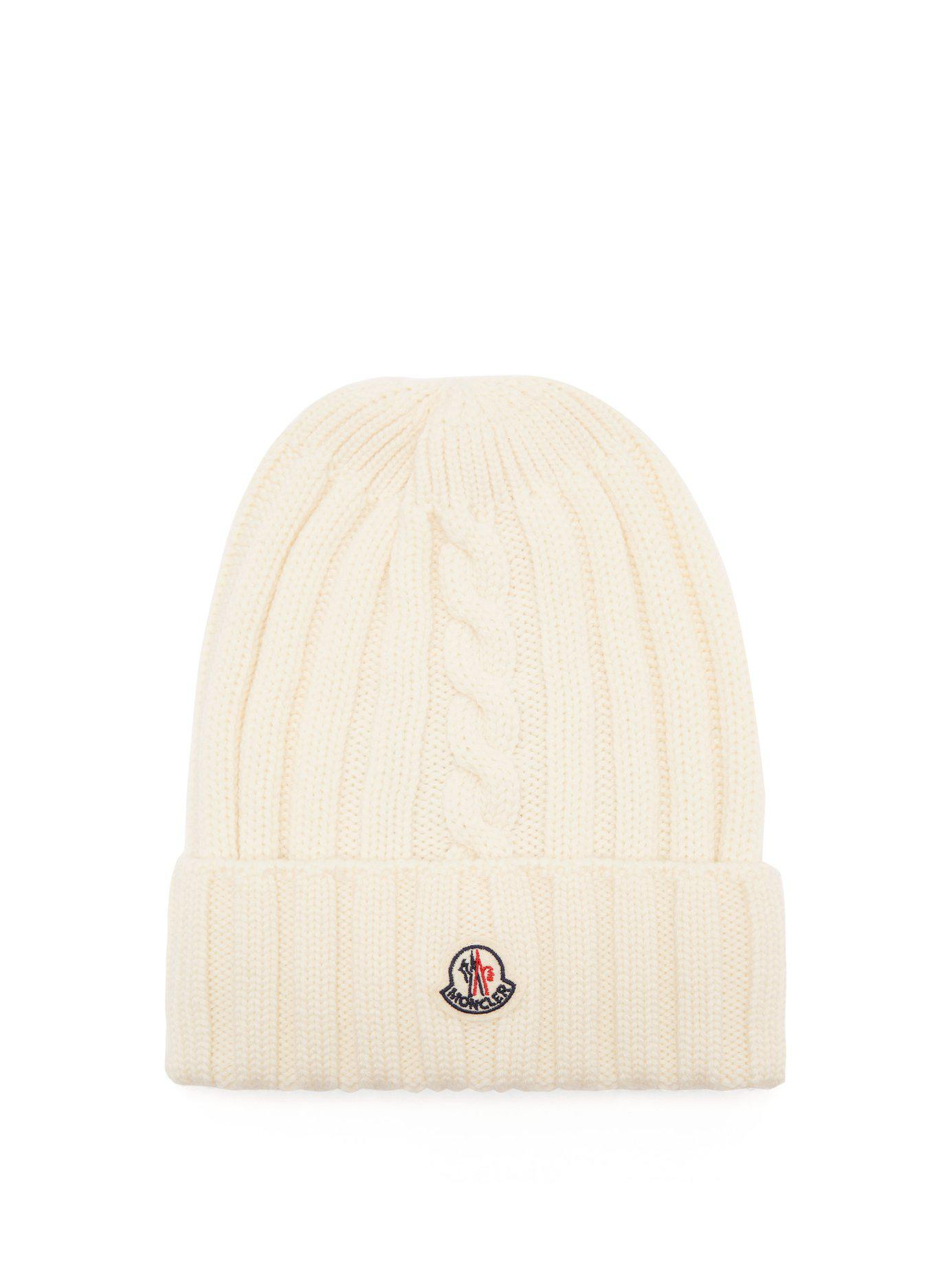 810afd1bce3d2 Lyst - Moncler Rib Knit Wool Beanie Hat in White - Save 15%