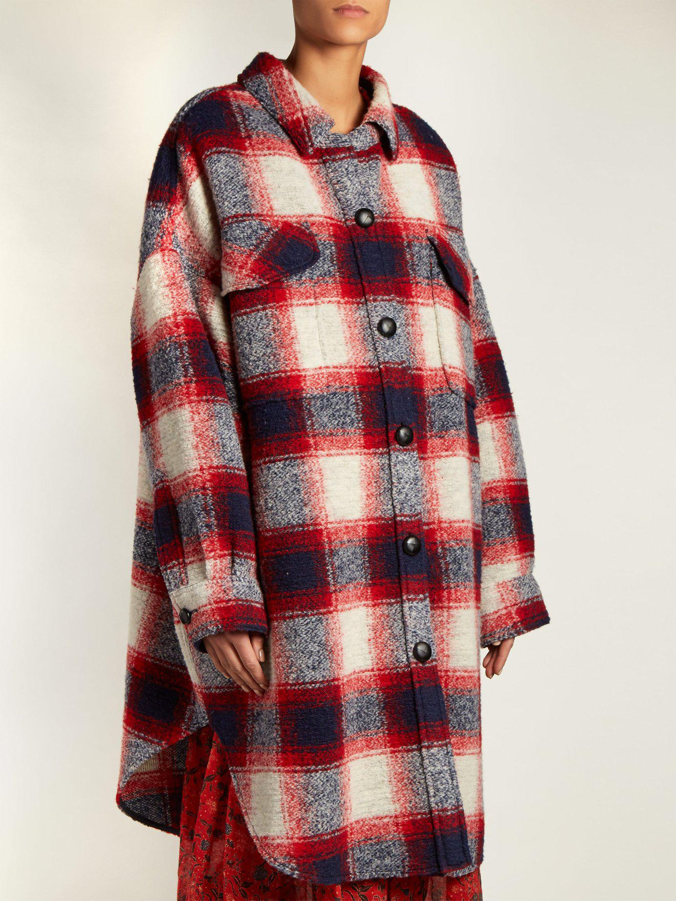 201 Toile Isabel Marant Gario Oversized Checked Wool Coat In