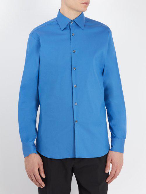 Prada Cotton Classic-fit Stretch-poplin Shirt in Blue for Men