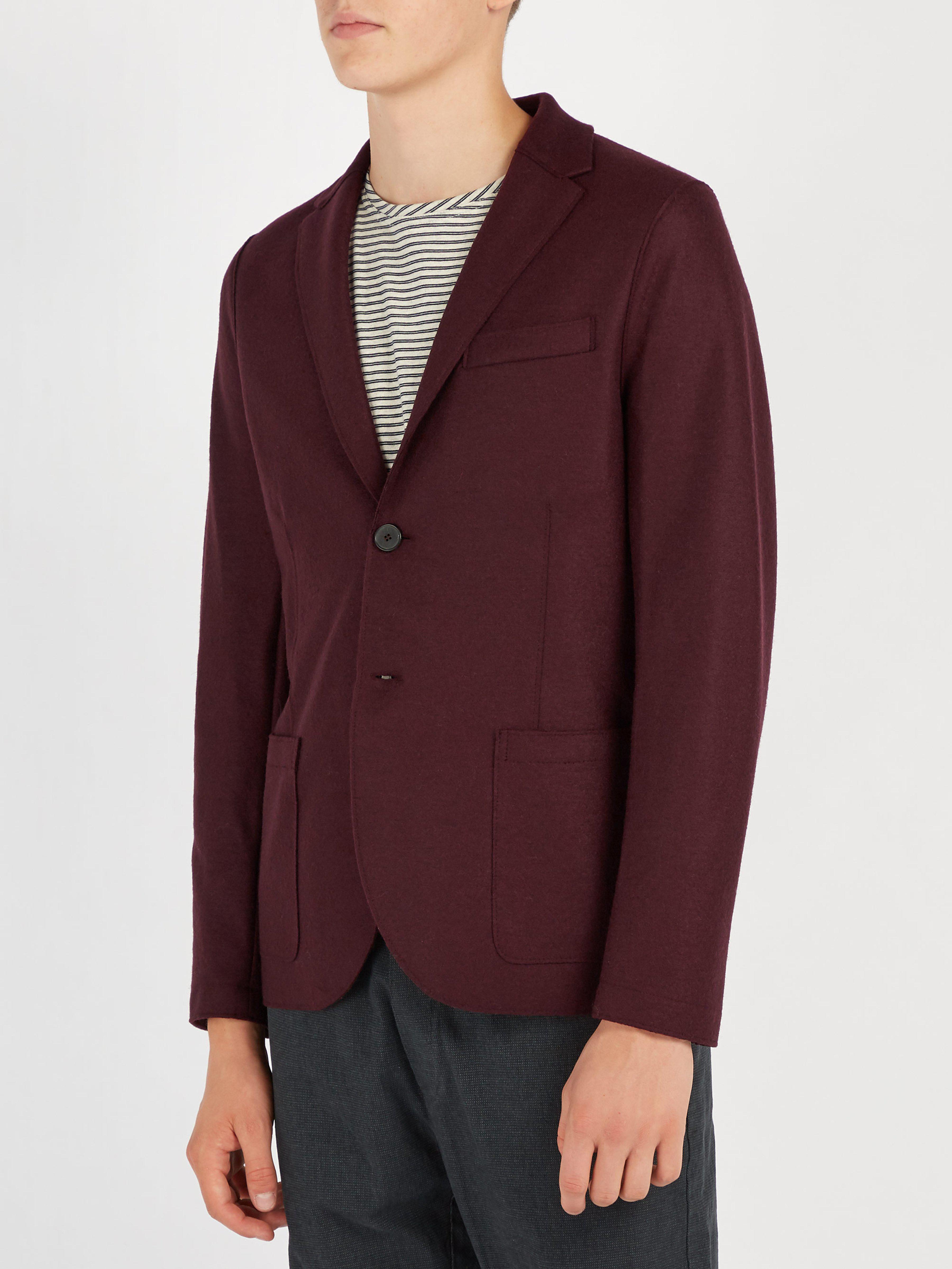 Harris Wharf London Pressed Virgin Wool Blazer in Burgundy (Purple) for Men