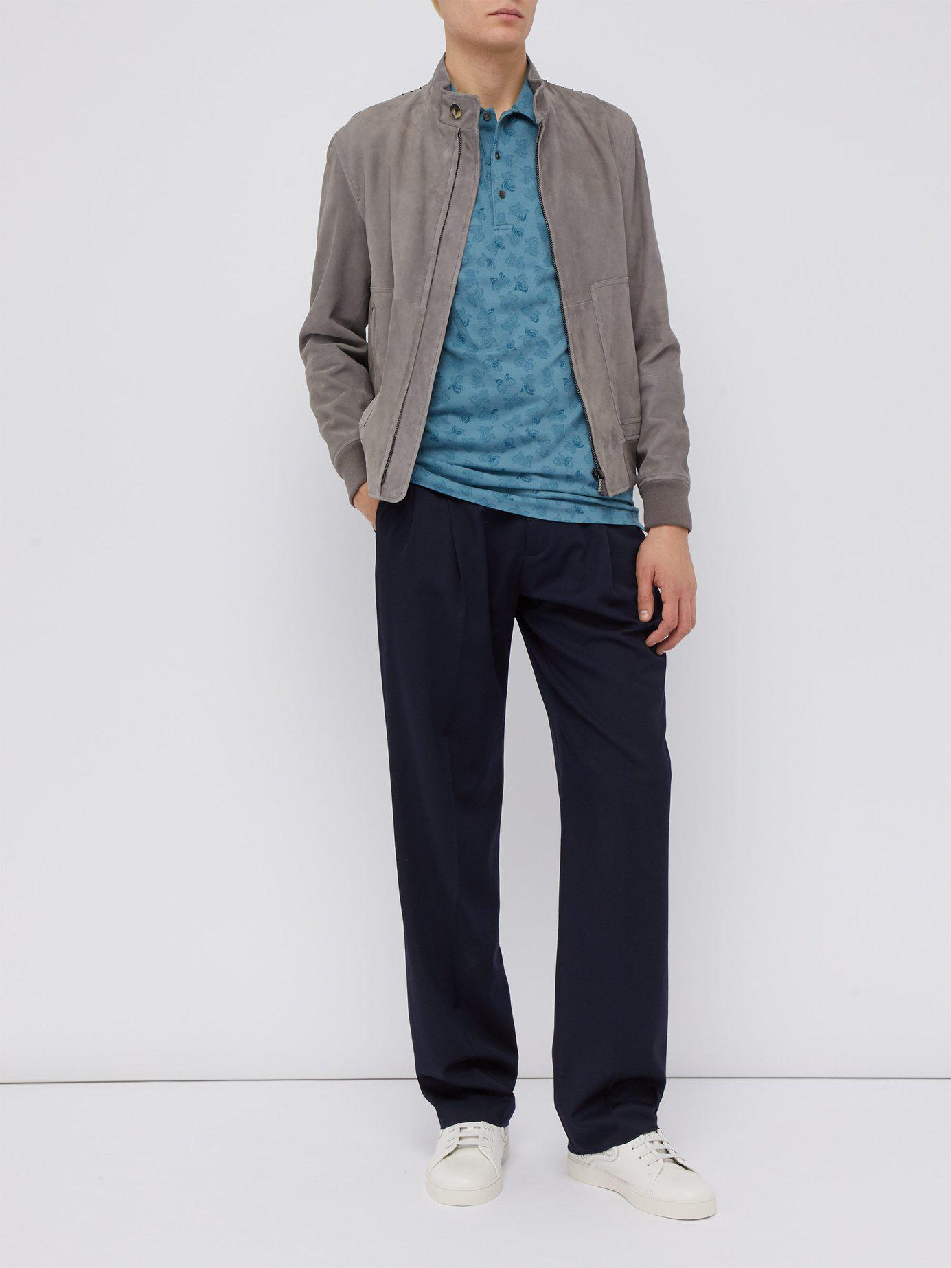 3302effd5c Bottega Veneta - Blue Butterfly Print Cotton Piqué Polo T Shirt for Men -  Lyst. View fullscreen