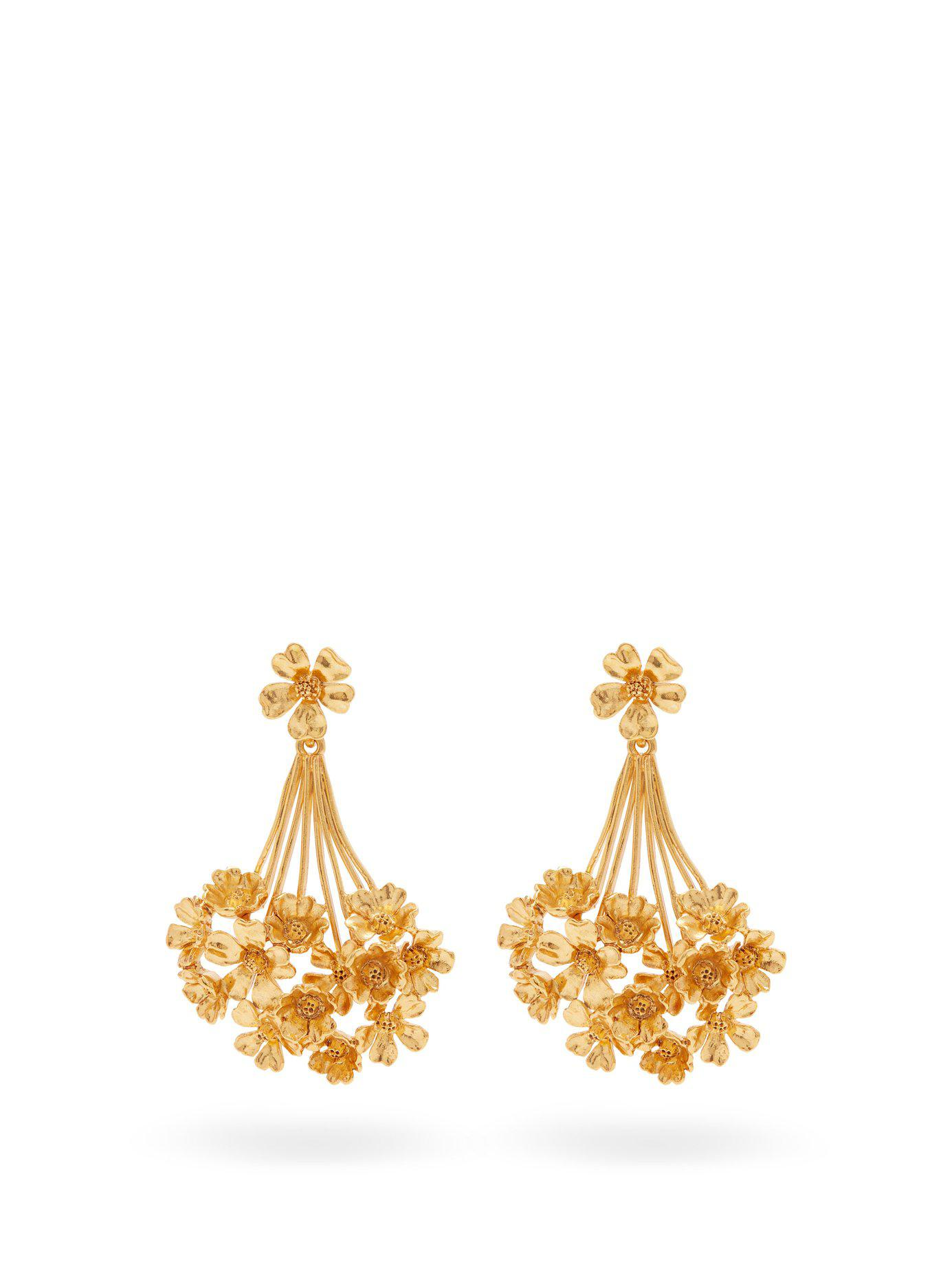 8bf40013d051 Lyst - Oscar de la Renta Geranium Drop Earrings in Metallic