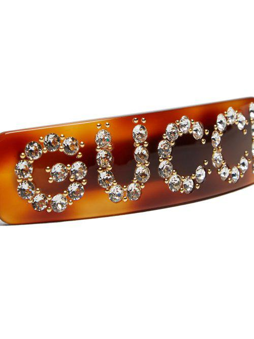 1ce5a9d70 Gucci Crystal-embellished Logo Hair Clip in Brown - Lyst
