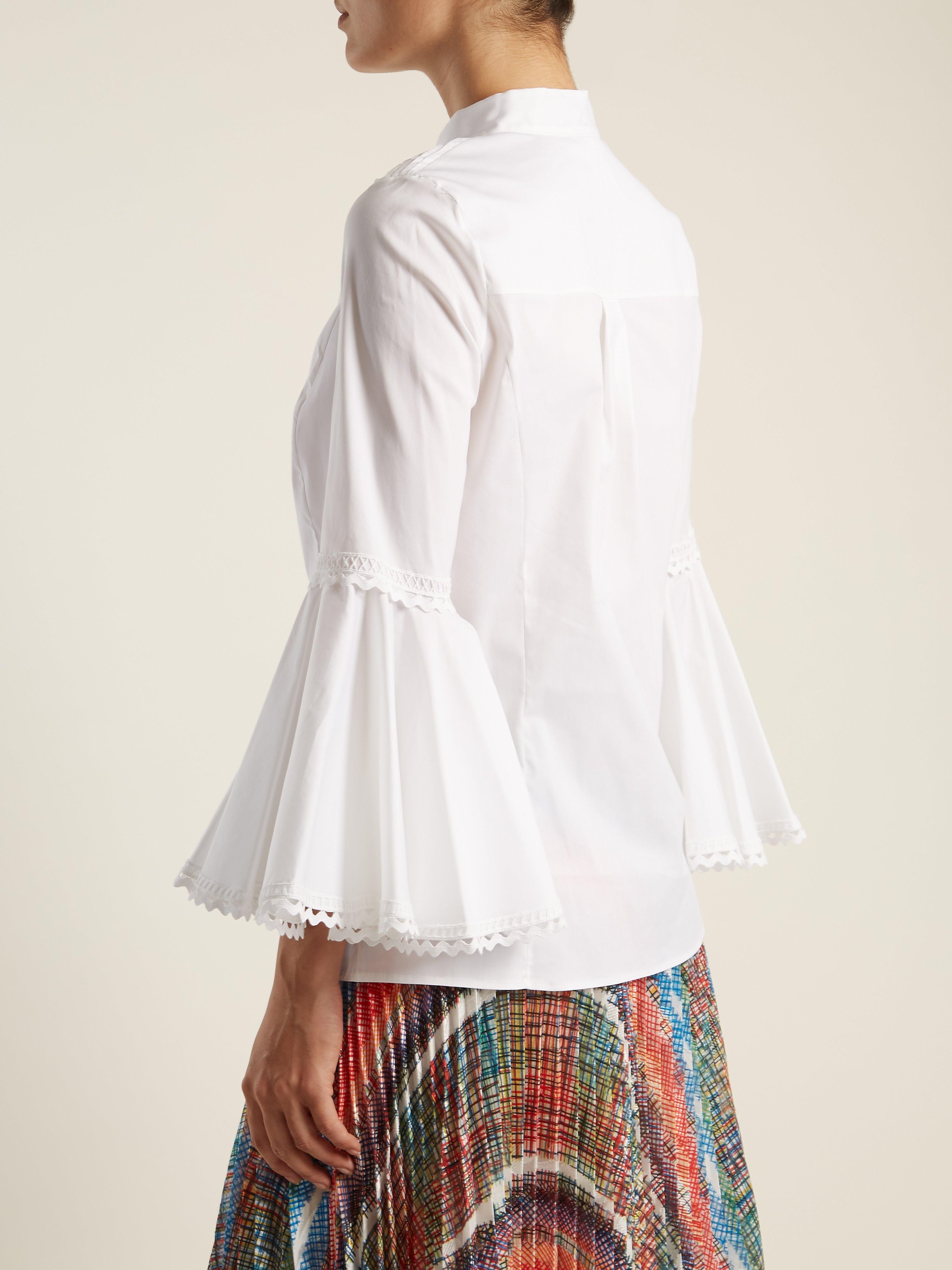 32513f40430749 Oscar de la Renta - White Rickrack Trimmed Cotton Blend Blouse - Lyst. View  fullscreen