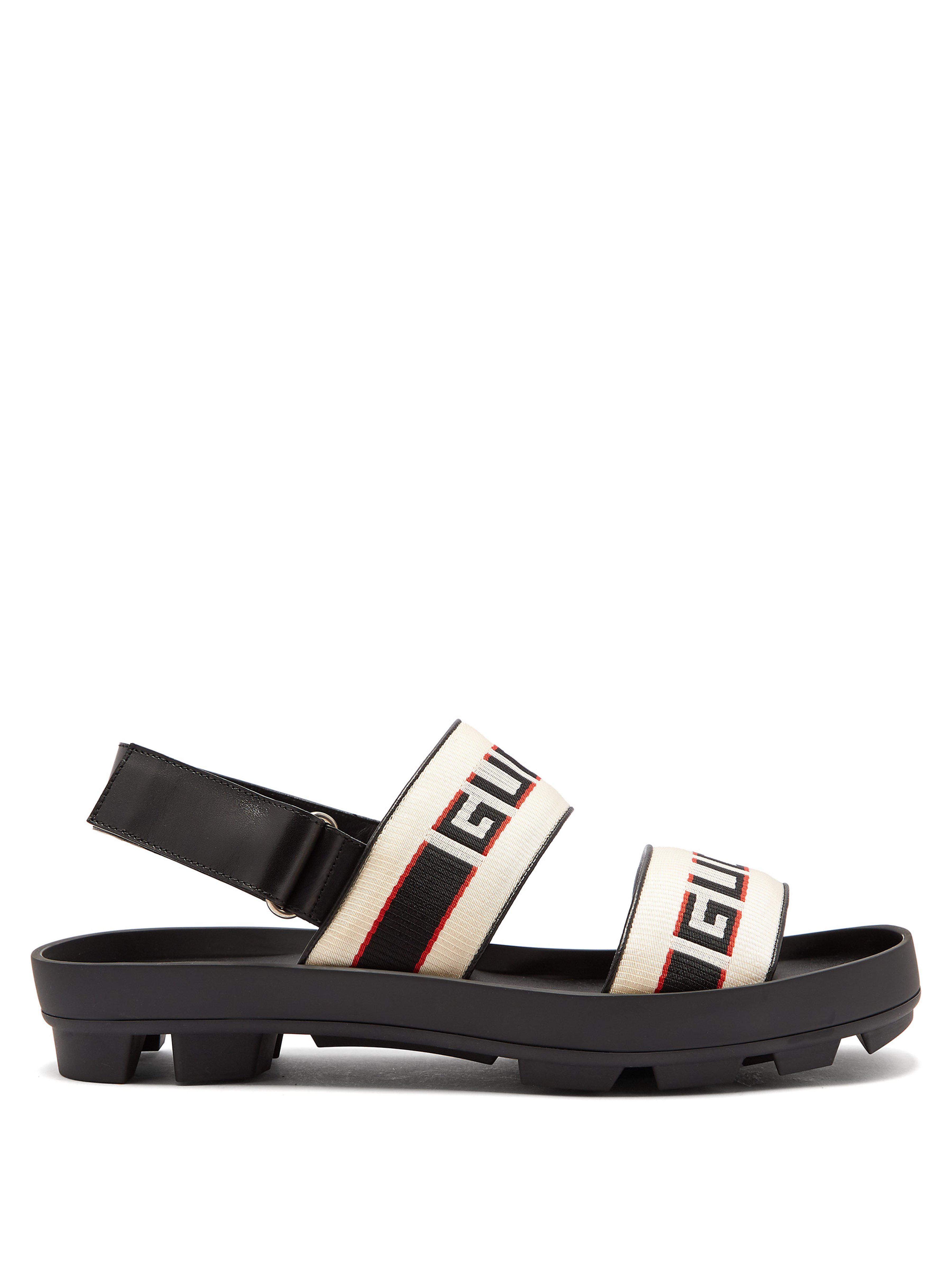 Lyst - Sandales à logo et rayures Gucci pour homme en coloris Noir 0e77b244527