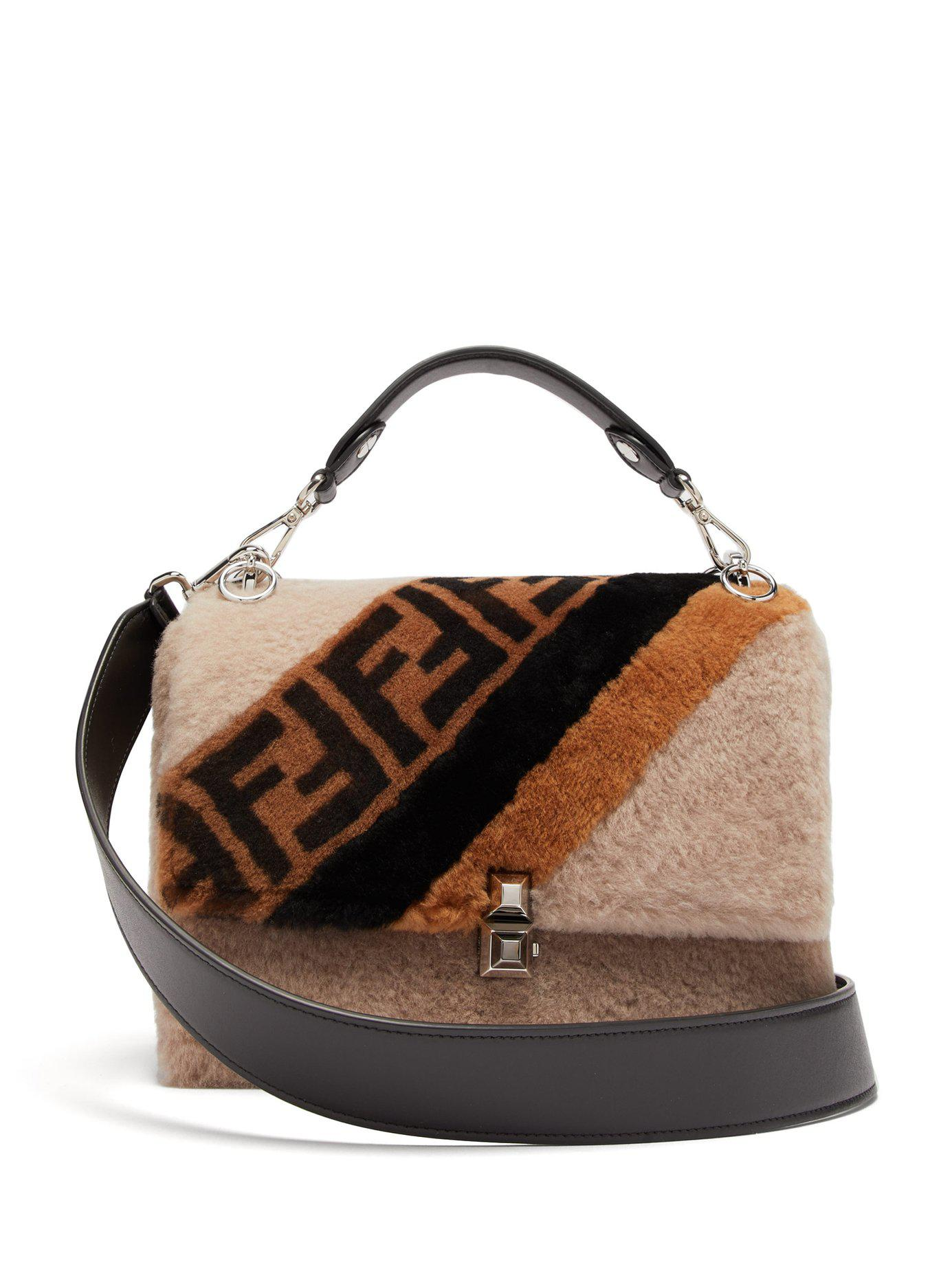 acc75efe Fendi Brown Kan I Logo Print Shearling Shoulder Bag