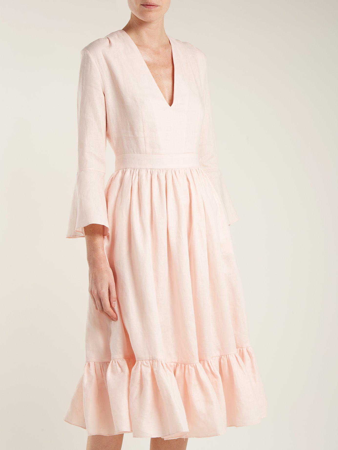 7575057905 Loup Charmant - Pink Sea Island Tie Waist Linen Dress - Lyst. View  fullscreen