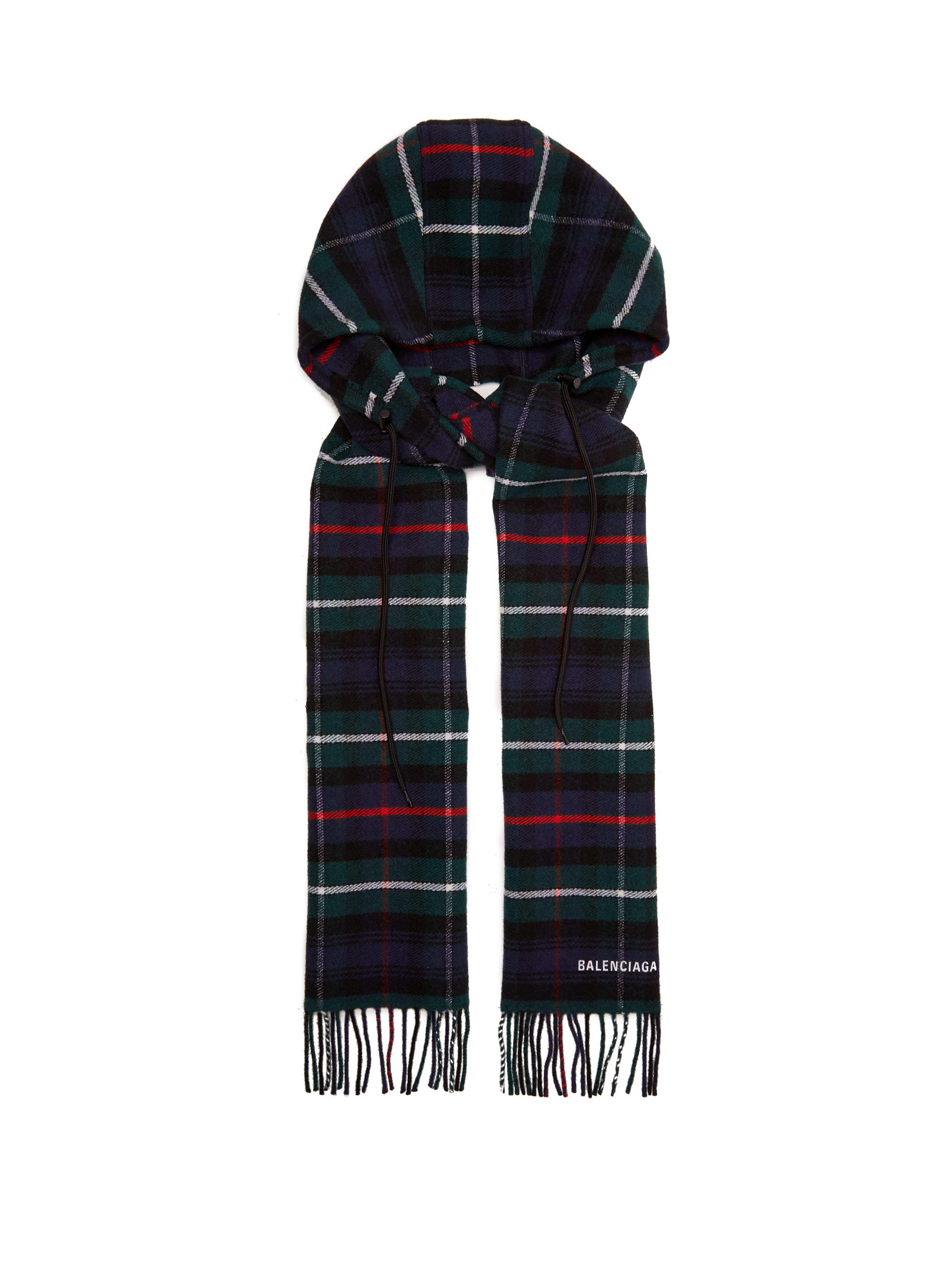 Lyst - Écharpe en laine à carreaux et capuche Balenciaga ... 20e2d33af02