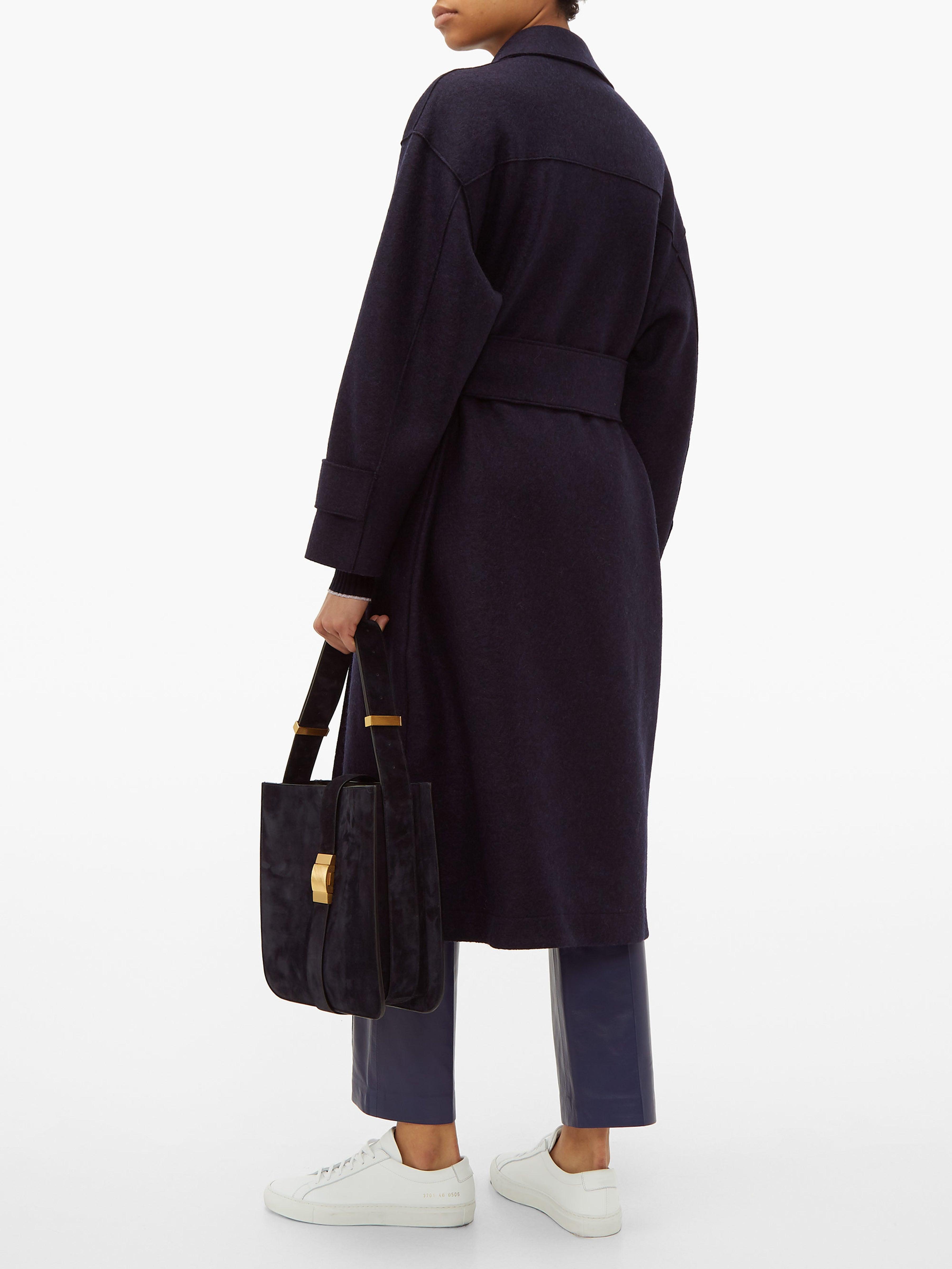 Trench-coat en laine pressée à double boutonnage Harris Wharf London en coloris Bleu