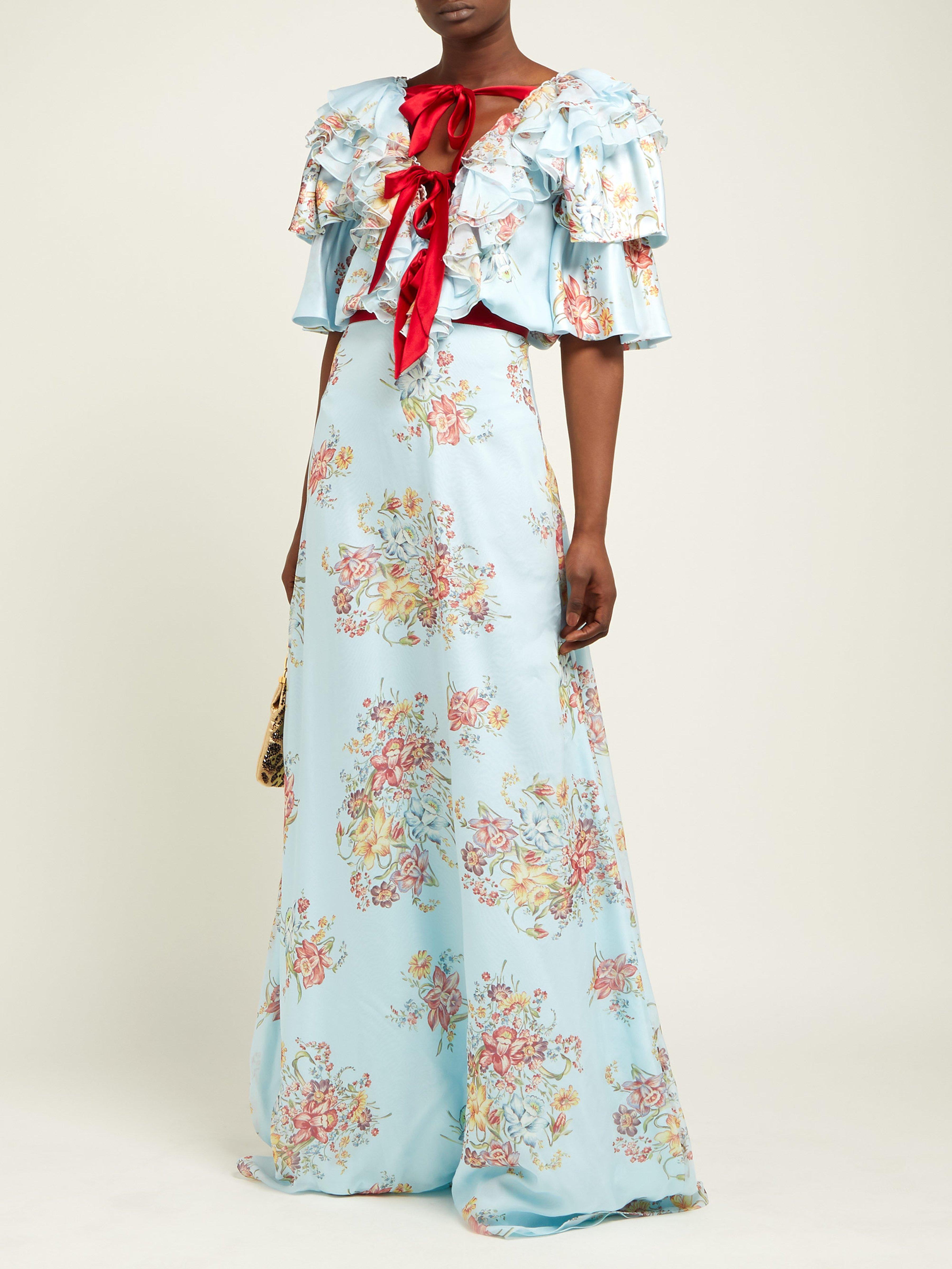 974a2453997d Rodarte - Blue Ruffled Floral Print Silk Satin Gown - Lyst. View fullscreen