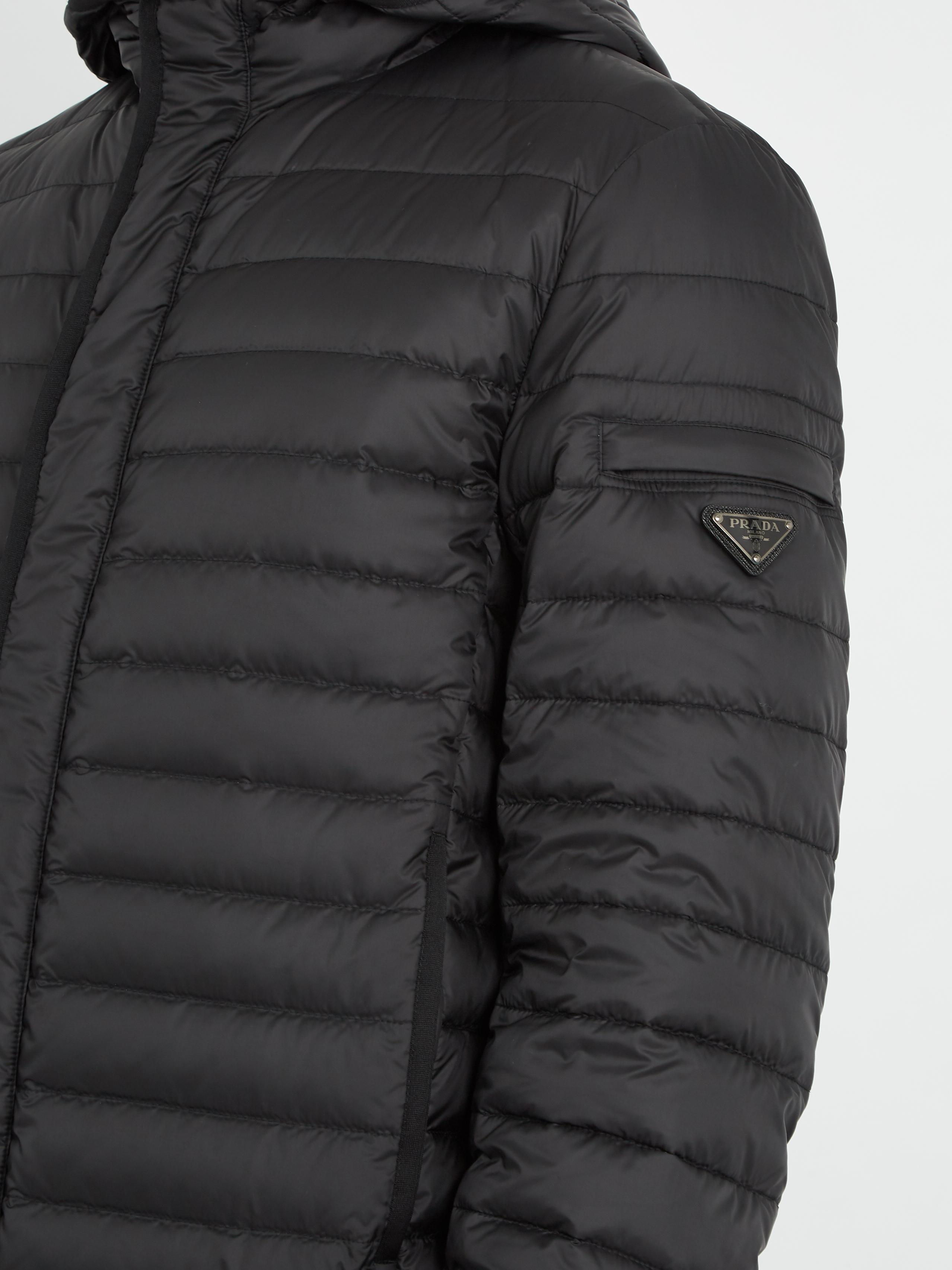 Prada Goose Hooded Down-filled Shell Jacket in Black for Men