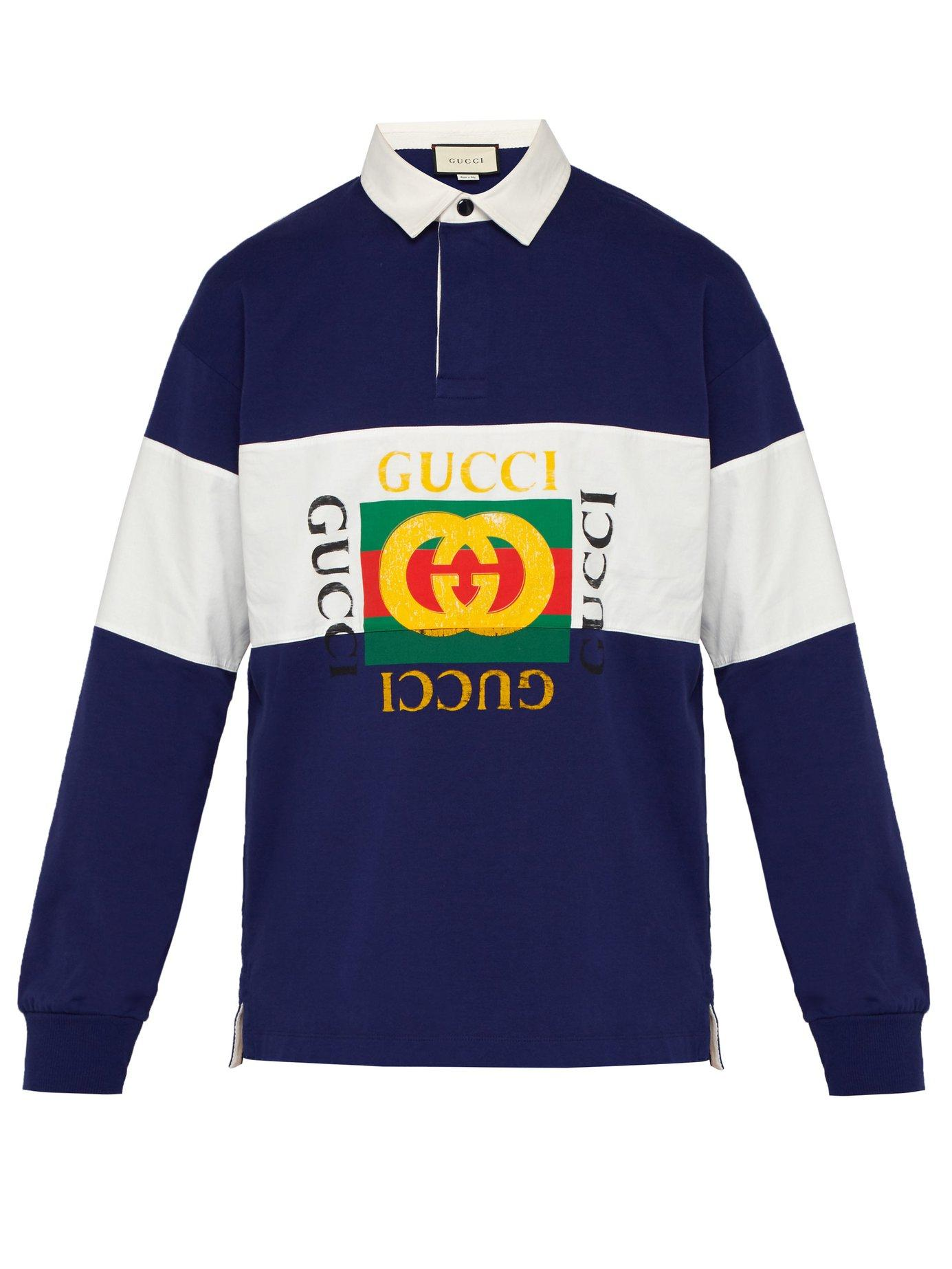 2f37bc5f695 Gucci - Blue Fake Logo Cotton Jersey Rugby Shirt for Men - Lyst. View  fullscreen
